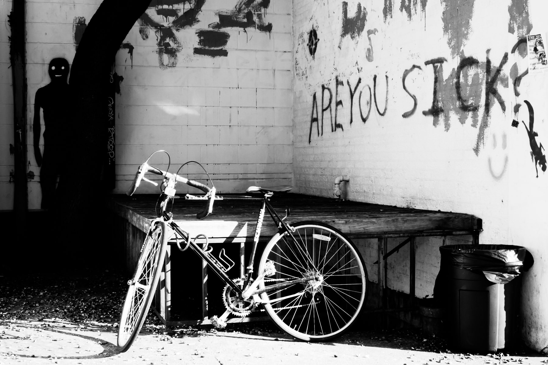 A bicycle and graffiti in Denton, Texas.