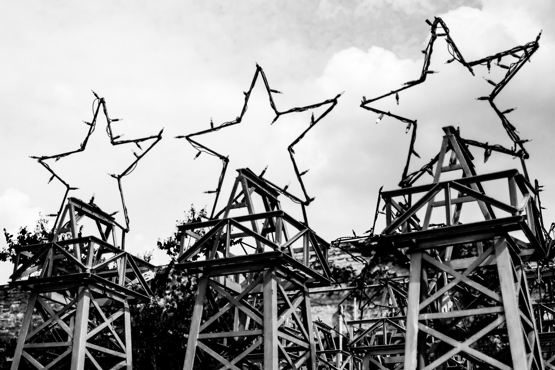 Stars atop miniature oil derricks in Downtown Kilgore, Texas.