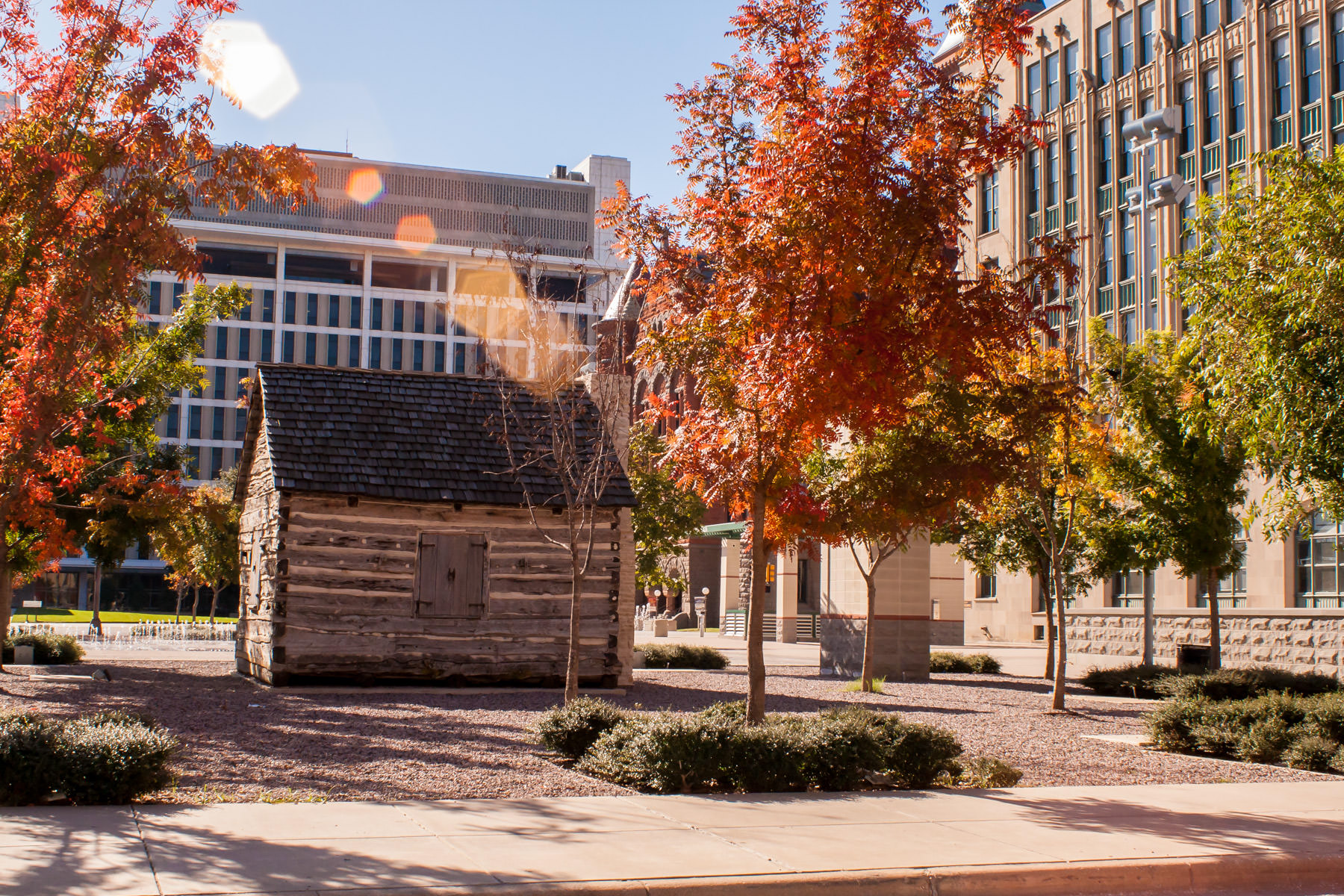 This replica of the 1840s-era cabin belonging to the founder of Dallas, John Neely Bryan, sits near the city's West End.