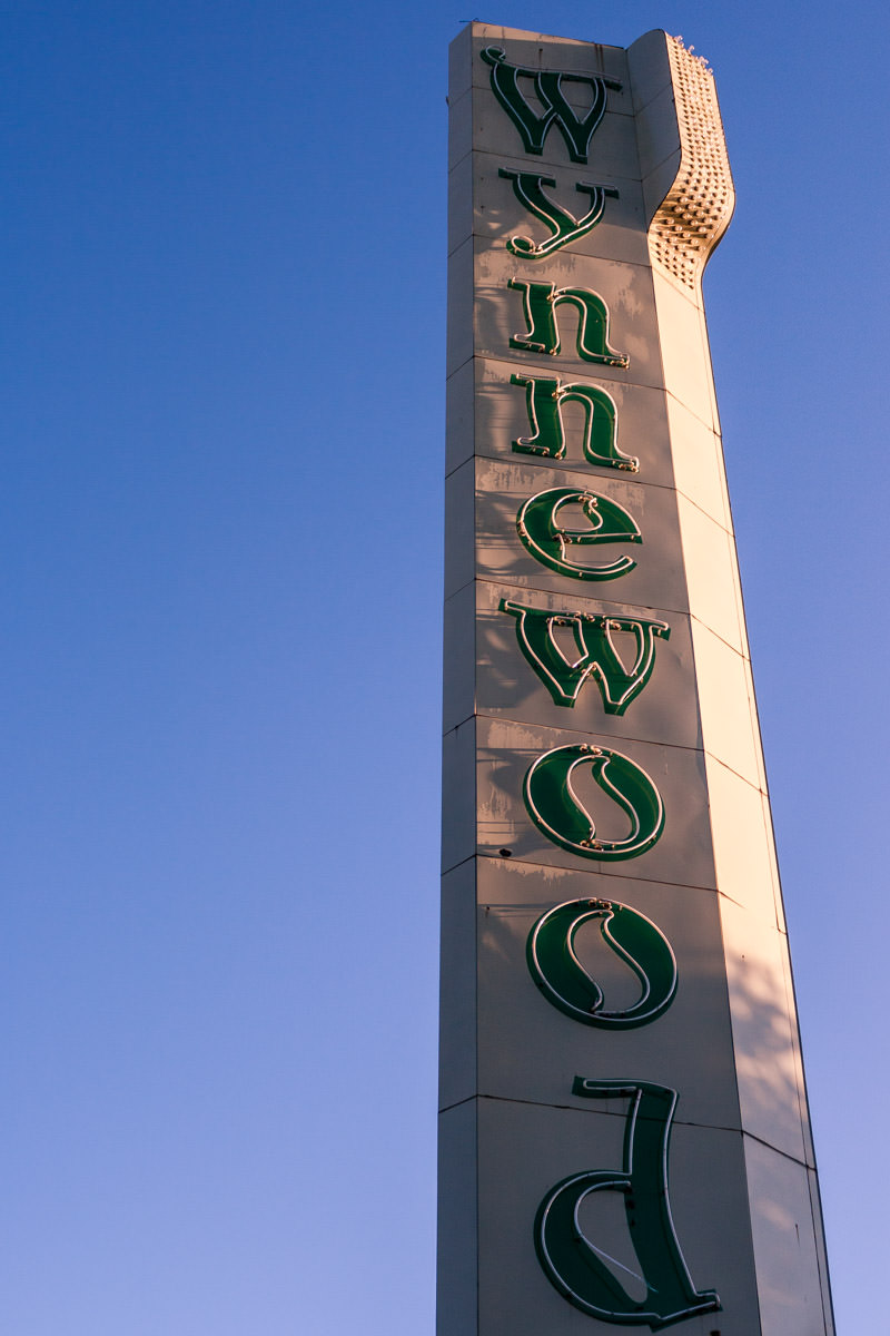 A sign at the entrance of Dallas' Wynnewood Shopping Center, located in Oak Cliff.