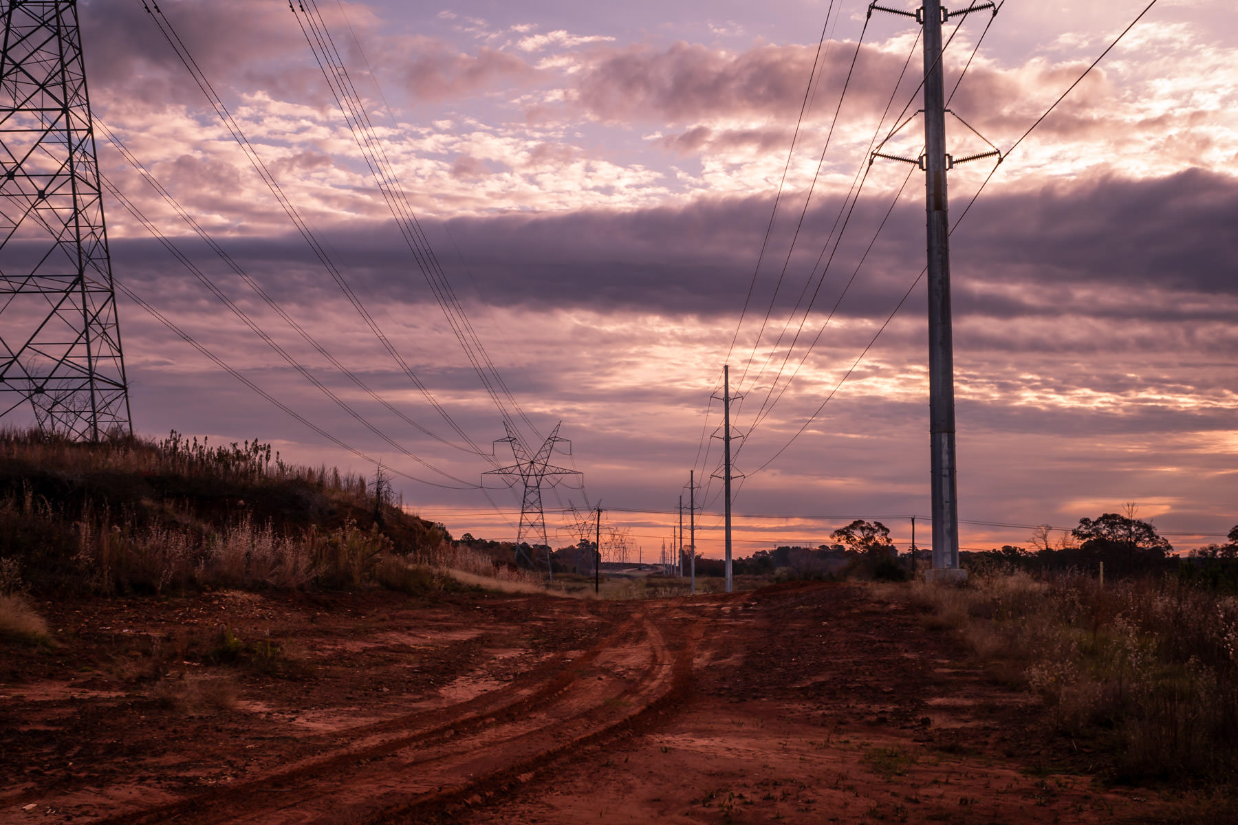 The dawn sky as seen from a power line right-of-way in Tyler, Texas.
