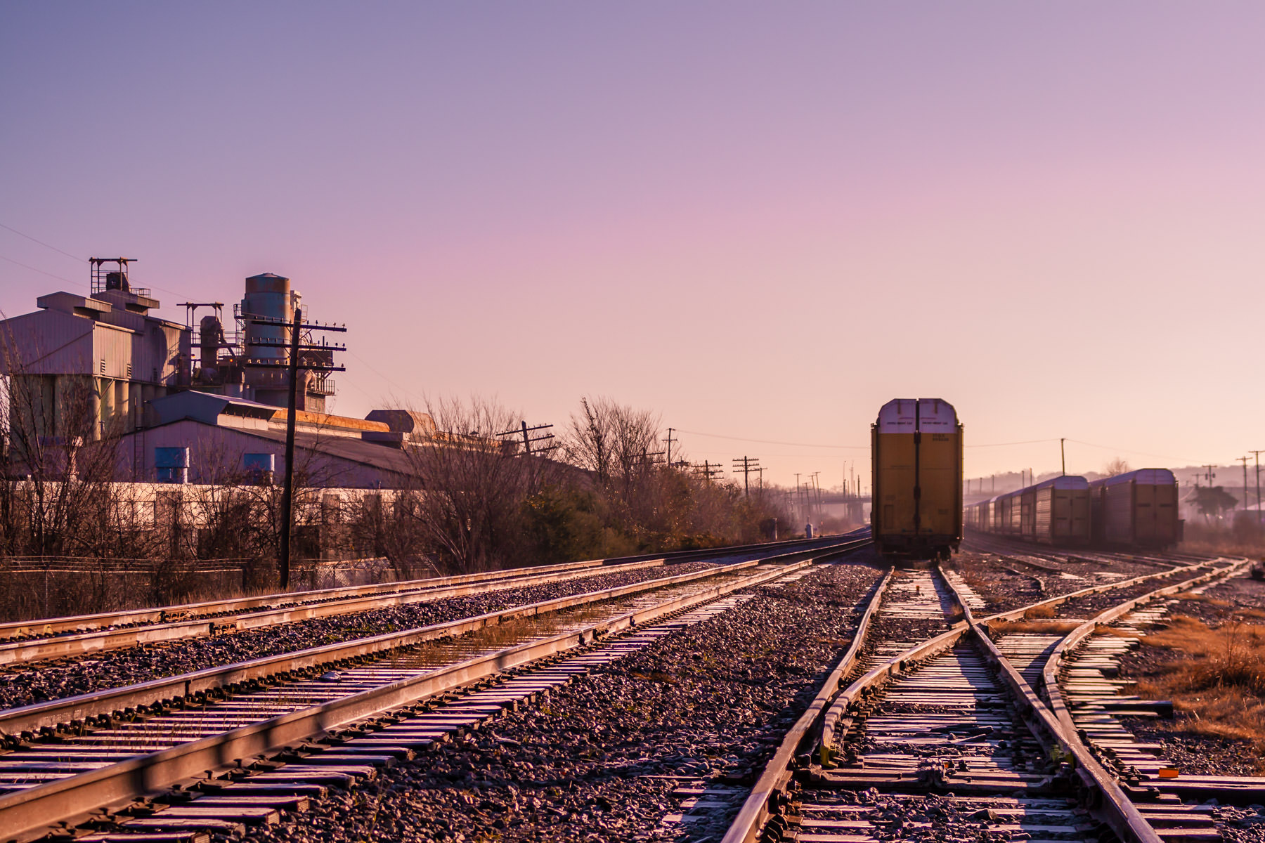A small railroad switching yard in West Dallas, Texas.