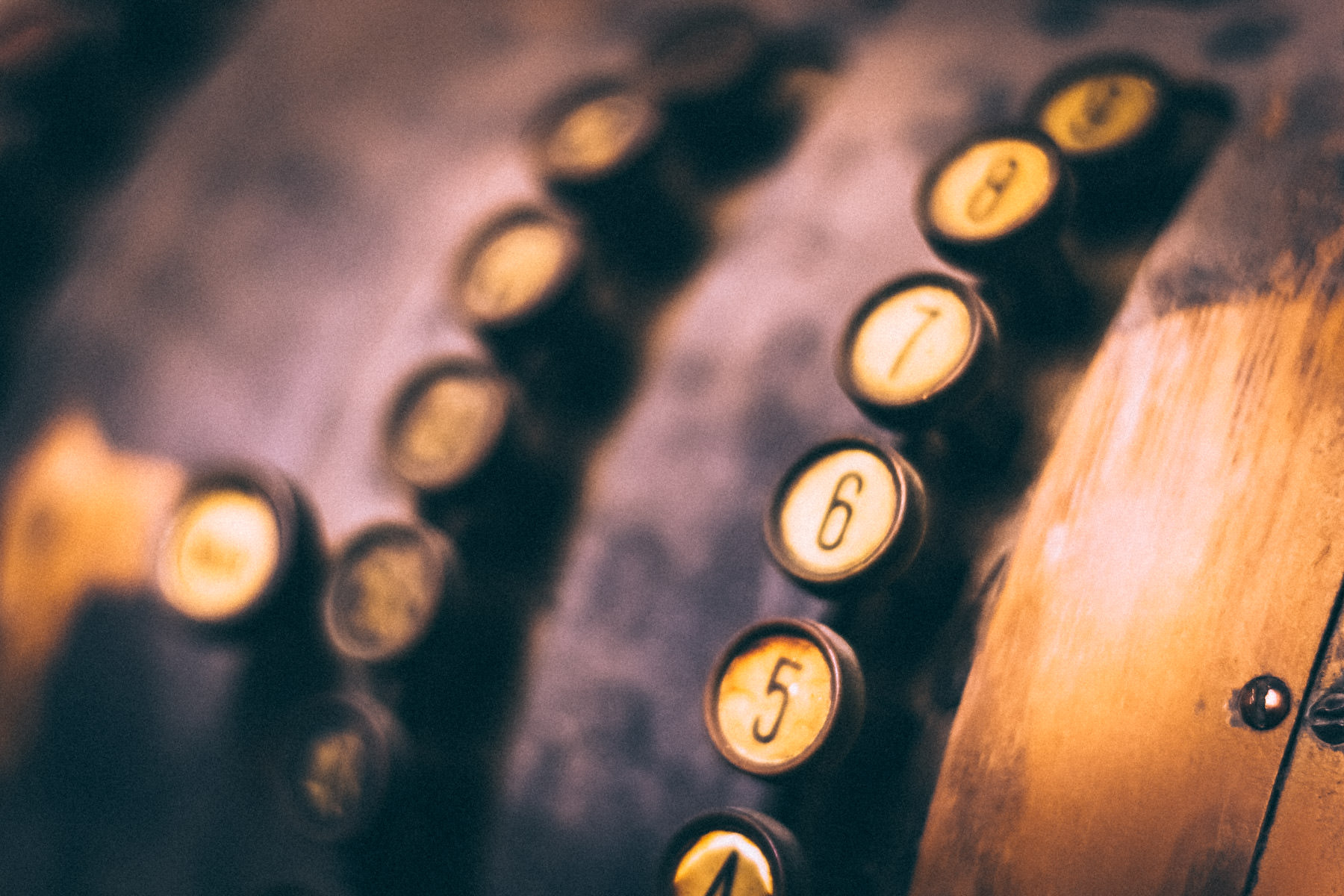Buttons on an antique cash register in Jefferson, Texas.