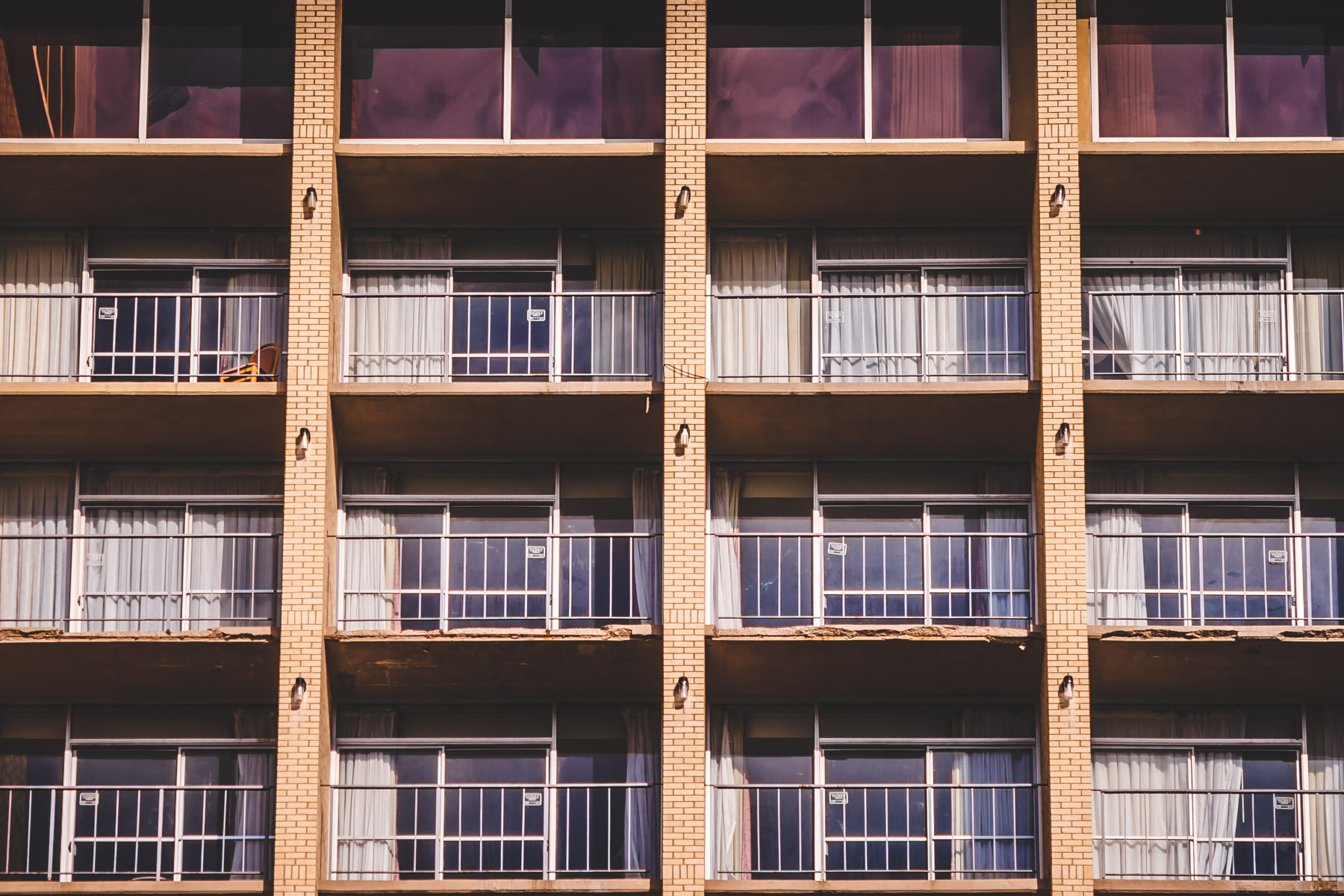 Balconies on the abandoned former Ramada Inn south of Downtown Dallas. Incidentally, this is the hotel that Tina Turner fled to when she finally escaped the abusive clutches of Ike Turner.