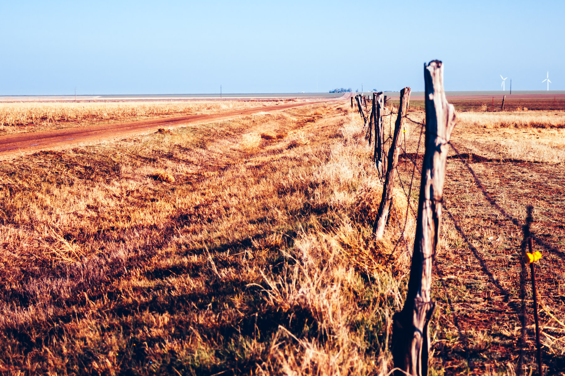 A fence line reaches for the horizon somewhere in the Texas Panhandle.