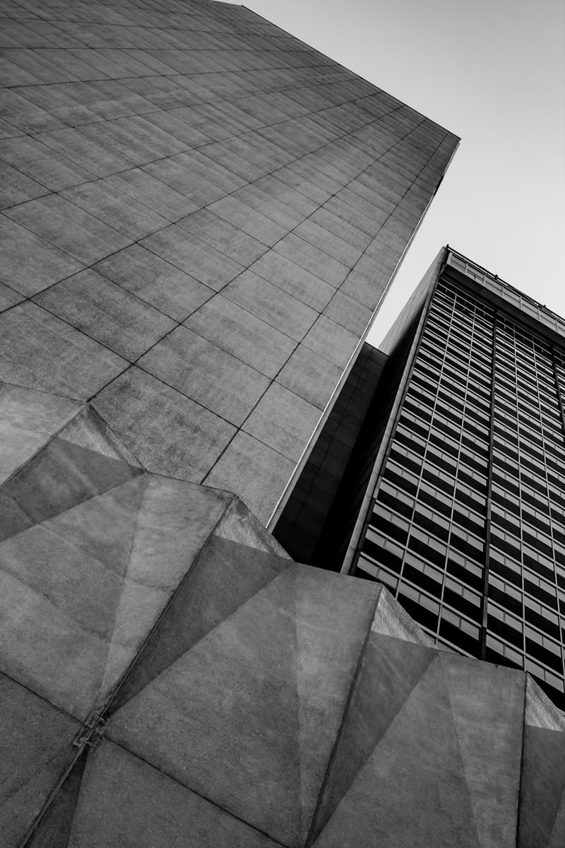 Architectural study of the mid-Century Modern Sheraton in Downtown Dallas.