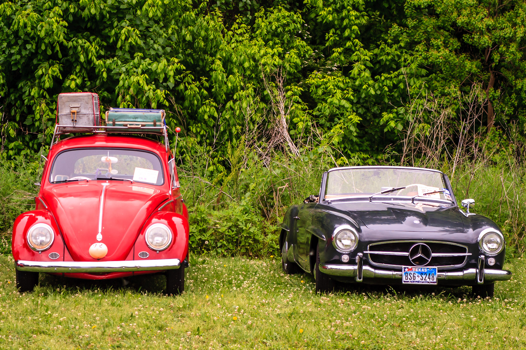 A classic Volkswagen and Mercedes Benz at Dallas' All British and European Car Day.