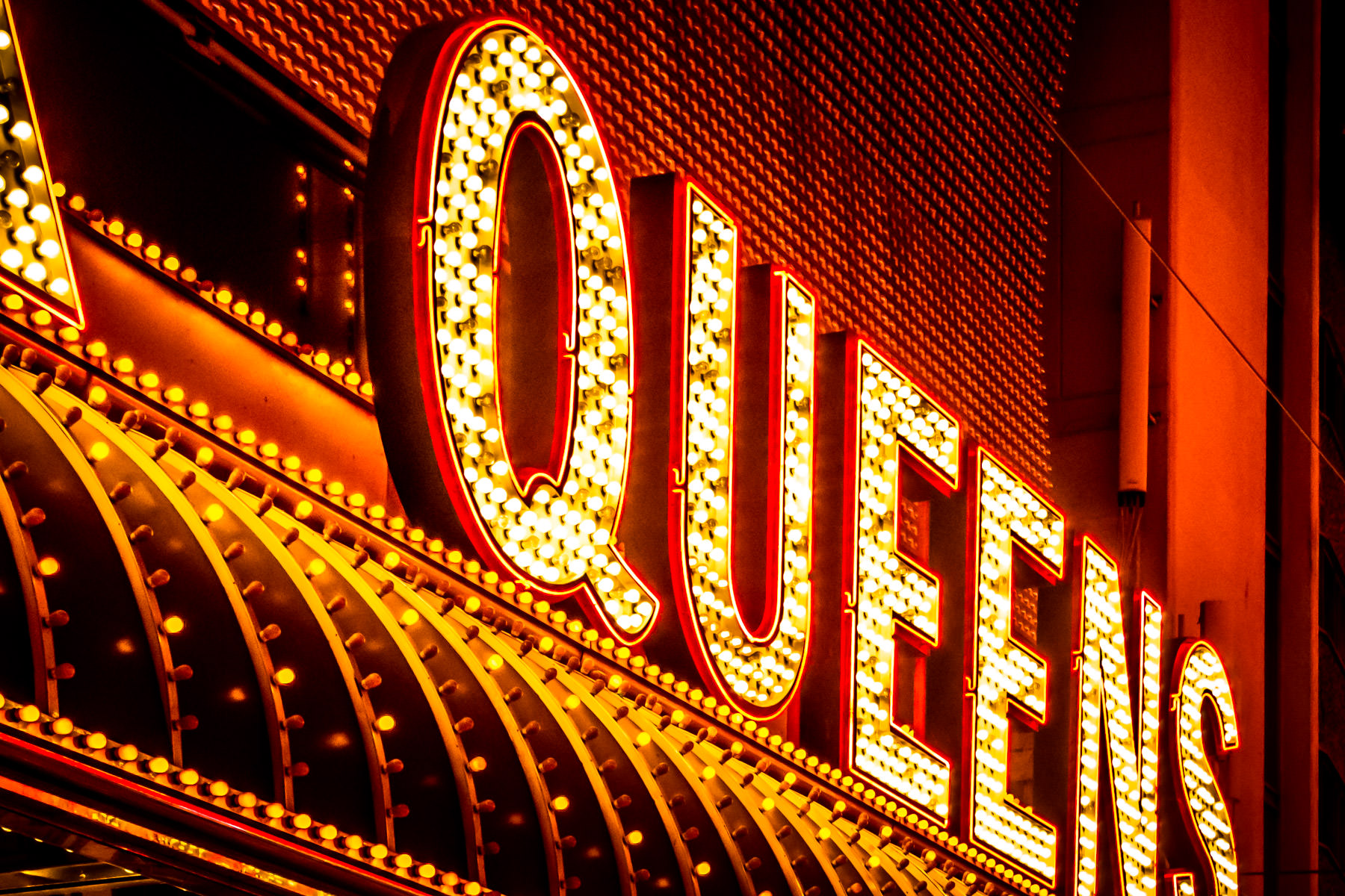 The glittering signs of the 4 Queens Casino, Las Vegas.