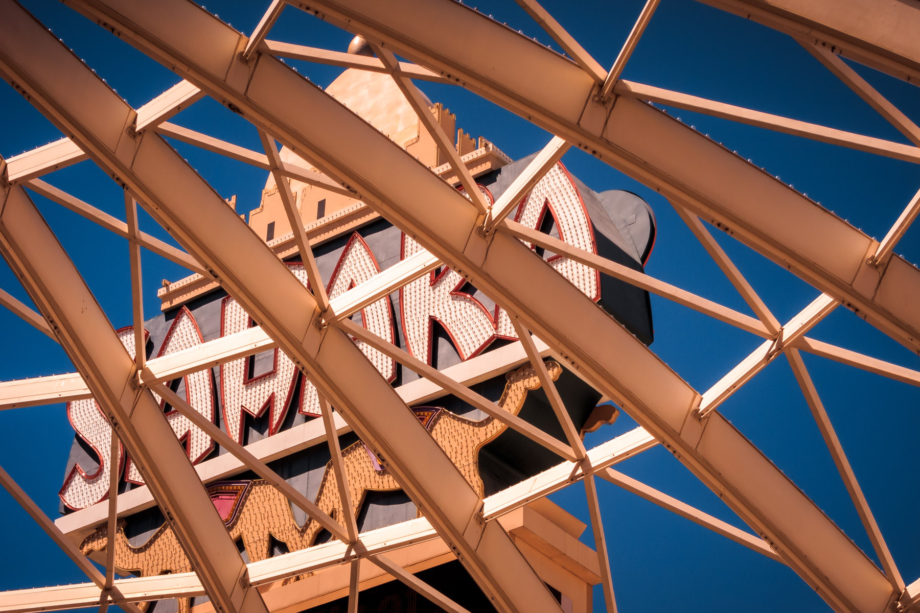 Las Vegas' Sahara Hotel and Casino's sign as seen through the steel structure atop the hotel's porte-cochére.