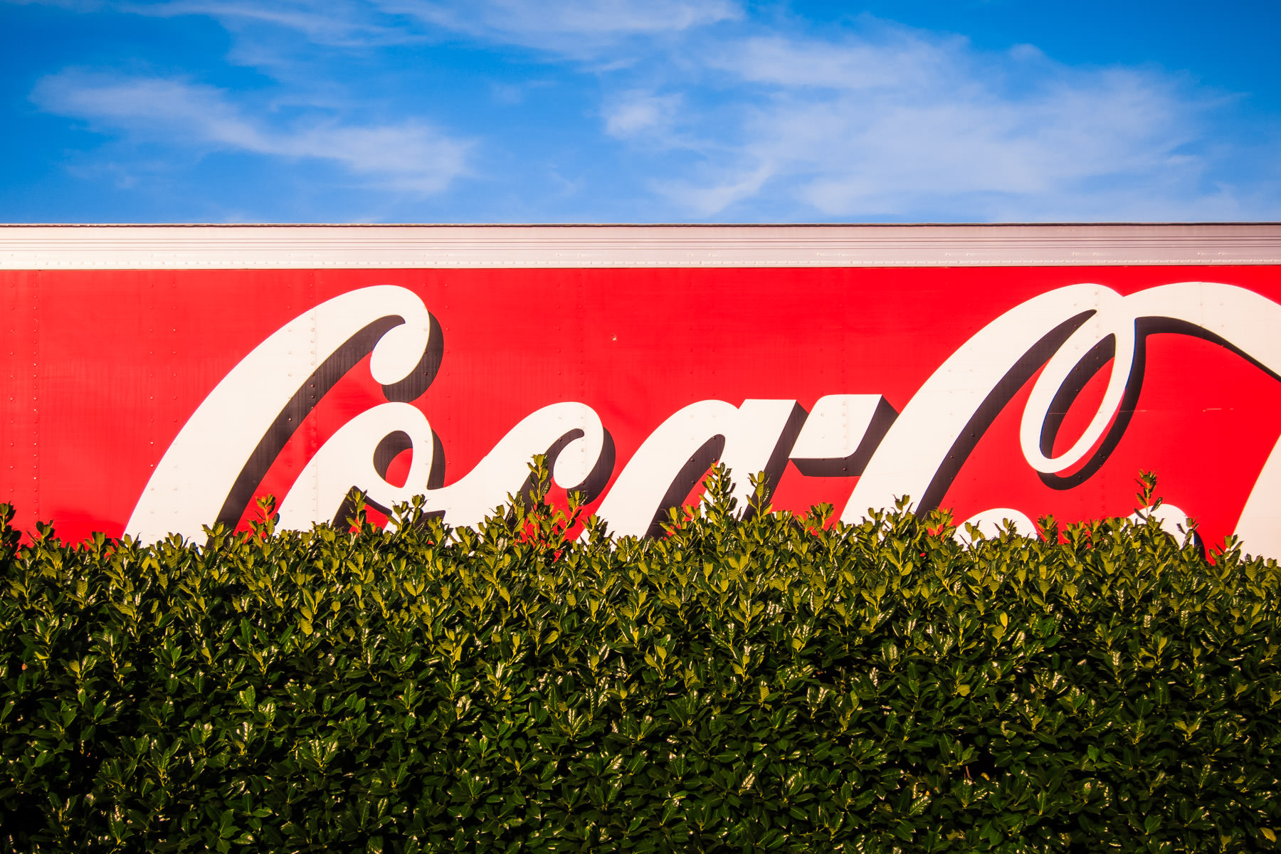 The top of a Coca-Cola truck peeks over a hedge in Addison, Texas.