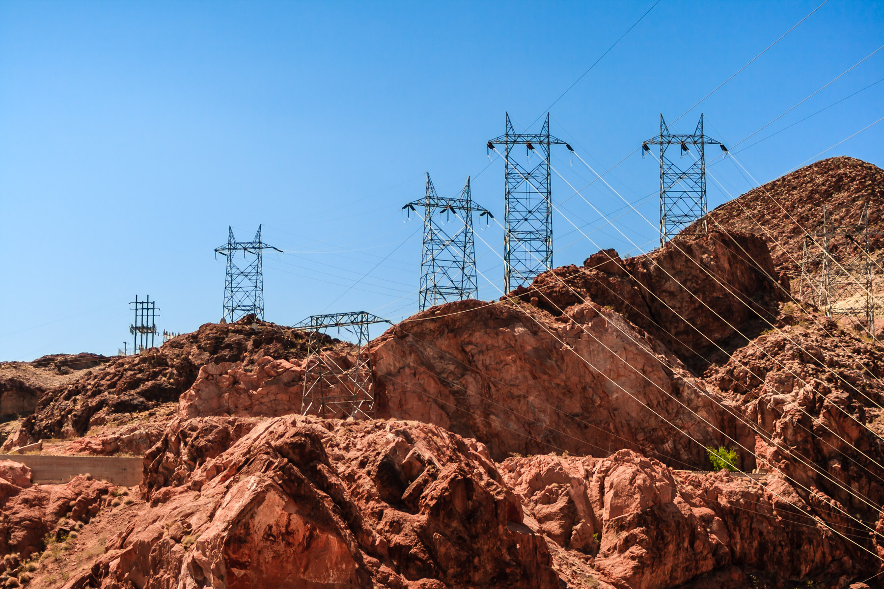 These power lines carry freshly-generated electricity away from Hoover Dam to distant destinations.