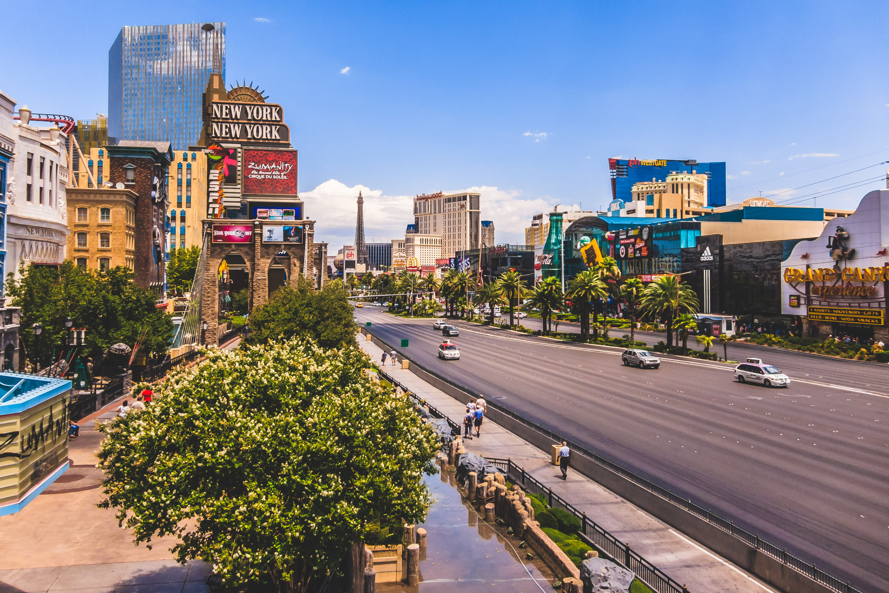 A view of the Las Vegas Strip looking north from a pedestrian bridge at New York New York.