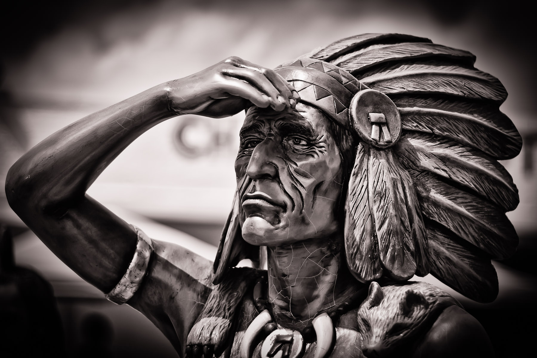 A statue of an American Indian outside of a botanica in Oak Cliff, Dallas.
