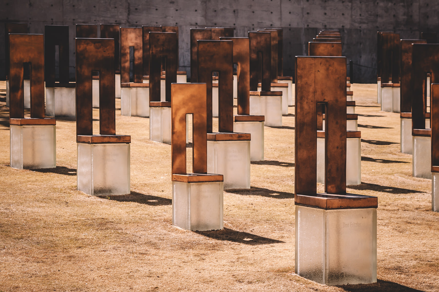 A few of the 168 empty chairs at the Oklahoma City National Memorial that represent those who lost their lives in the Oklahoma City bombing on April 19, 1995.