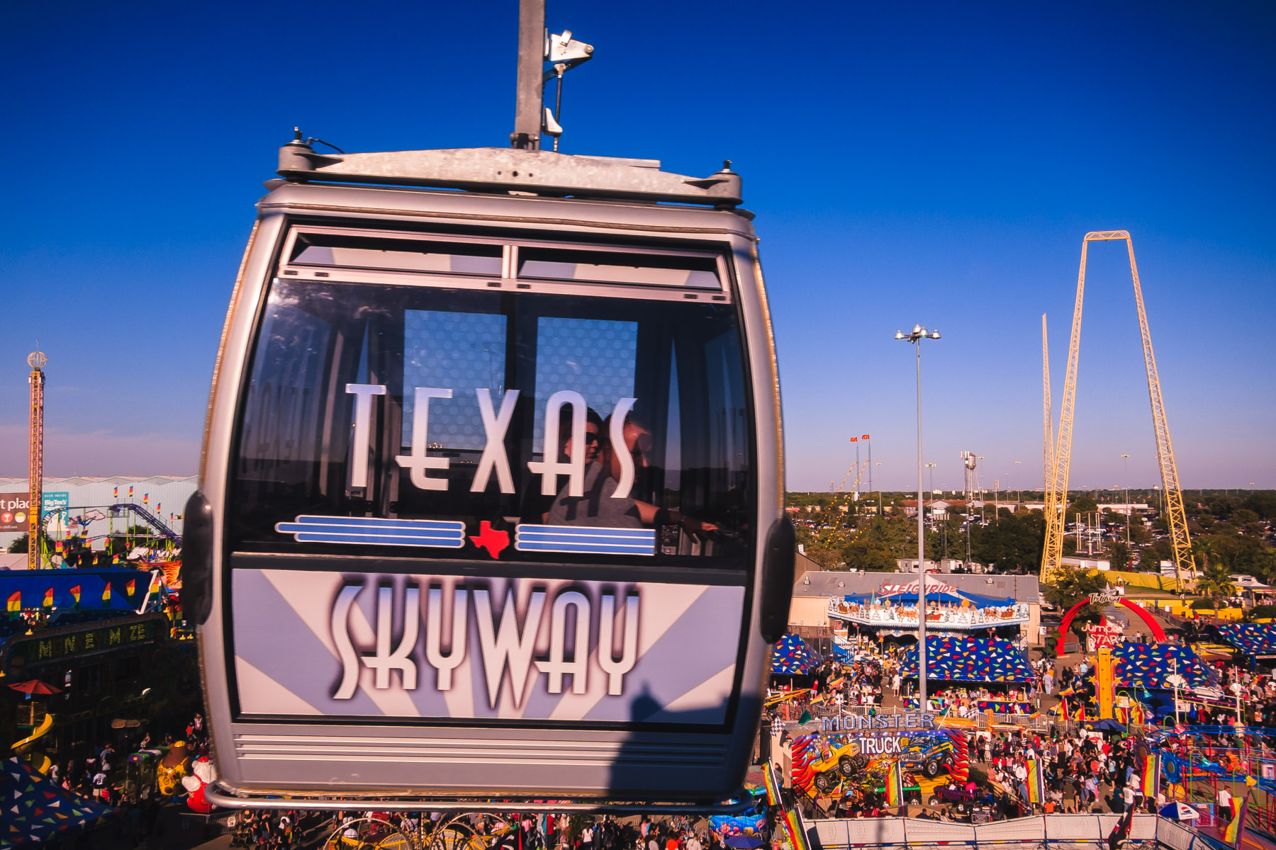 The aerial tramway at the State Fair of Texas, Fair Park, Dallas.
