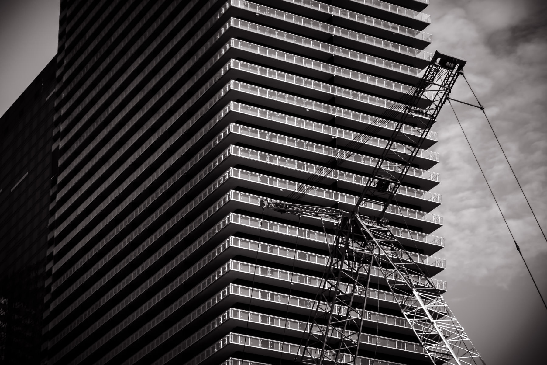 Detail of a crane outside of the Cosmopolitan of Las Vegas.