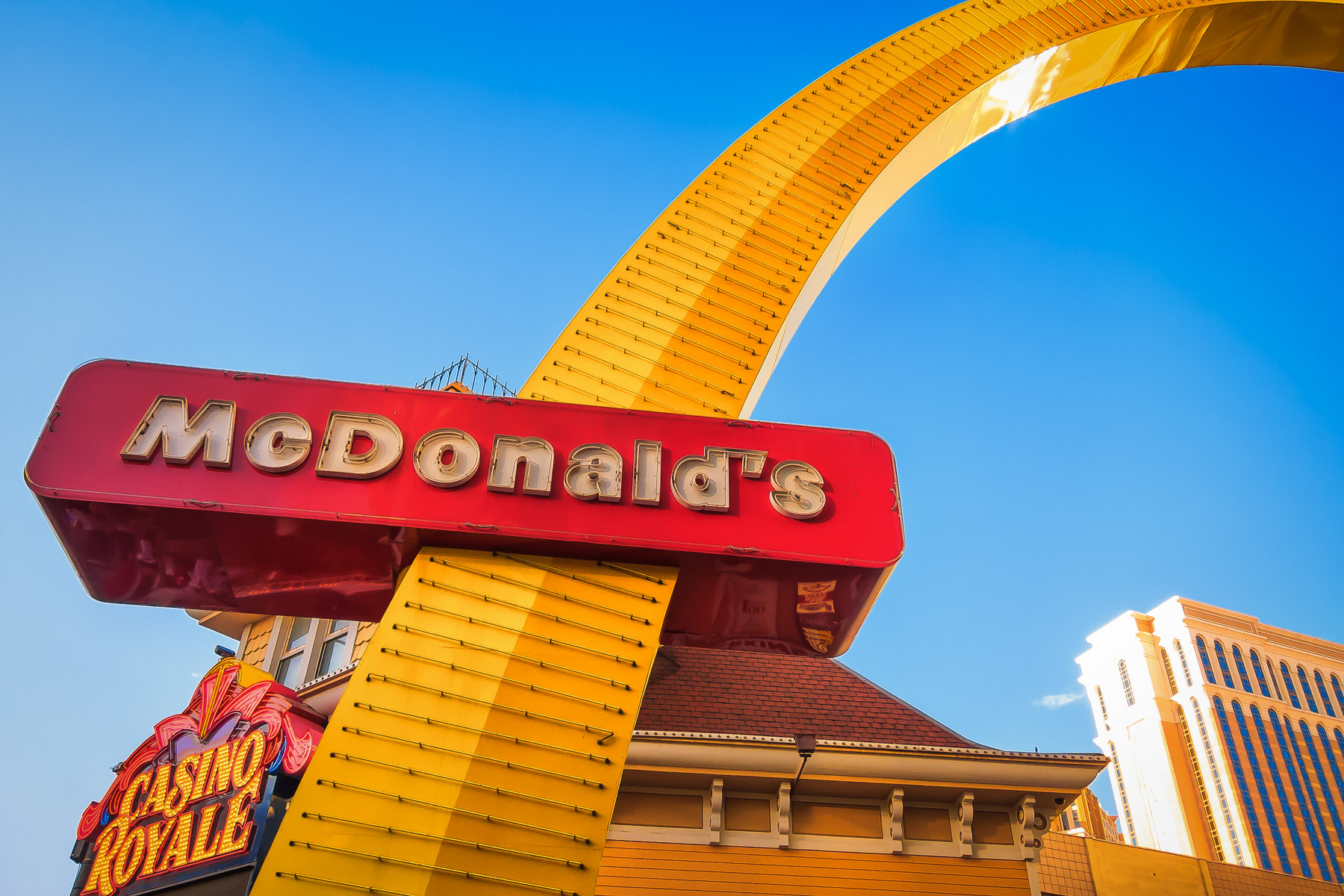 A McDonalds sign on the Las Vegas Strip.