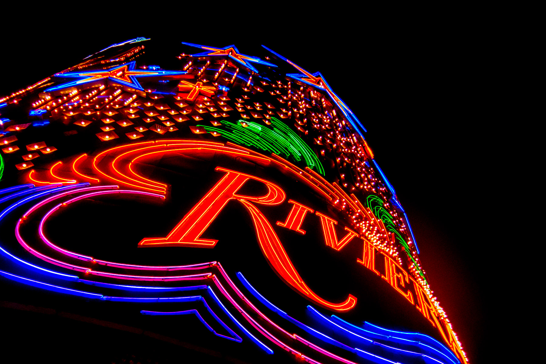 Detail of the Riviera Hotel and Casino's sign, Las Vegas.