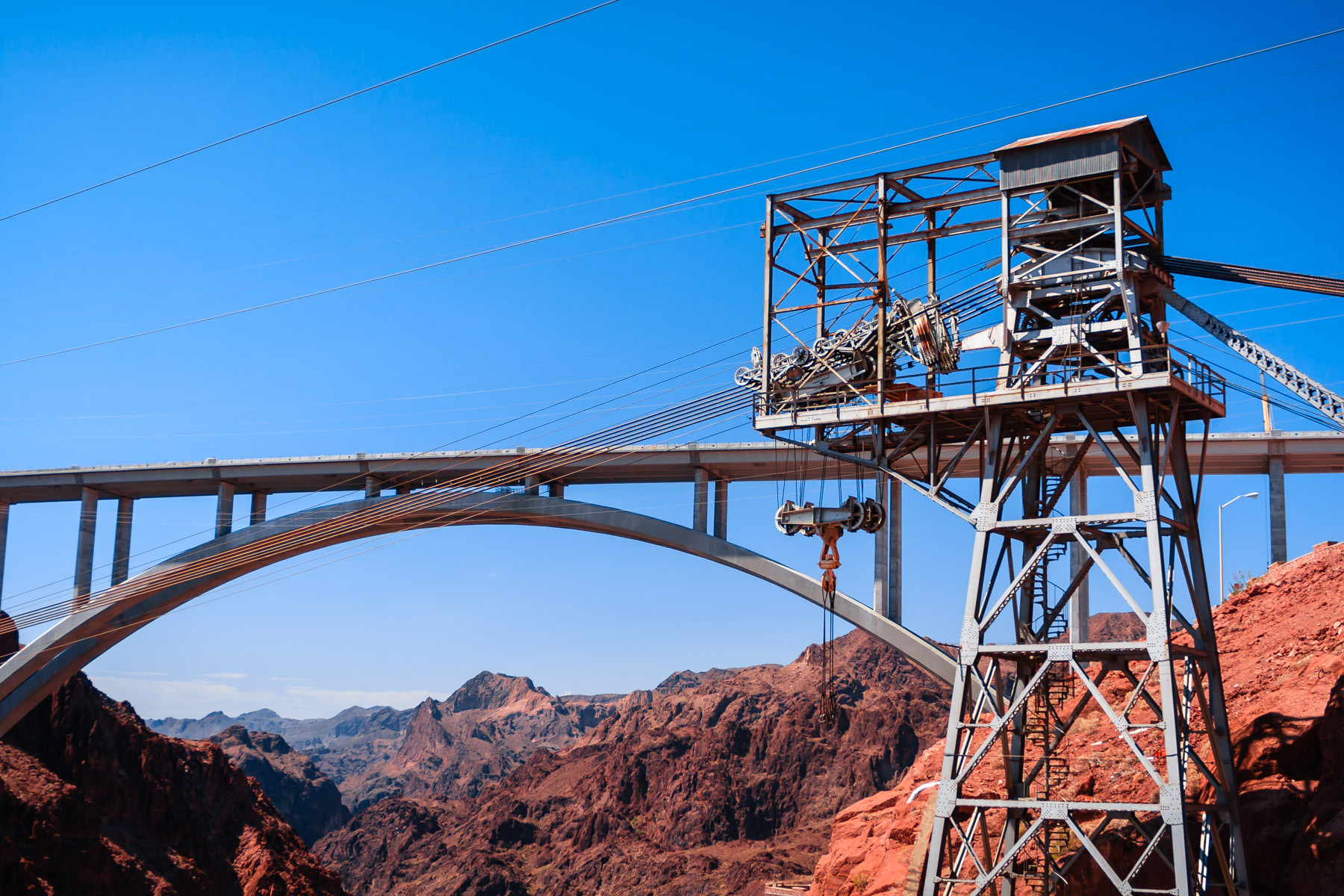 The almost-completed Pat Tillman Memorial Bridge over the Colorado River along the Nevada-Arizona border. This bridge lies just downstream from Hoover Dam and, since opening this fall, acts as a bypass for traffic that was originally directed across the dam.