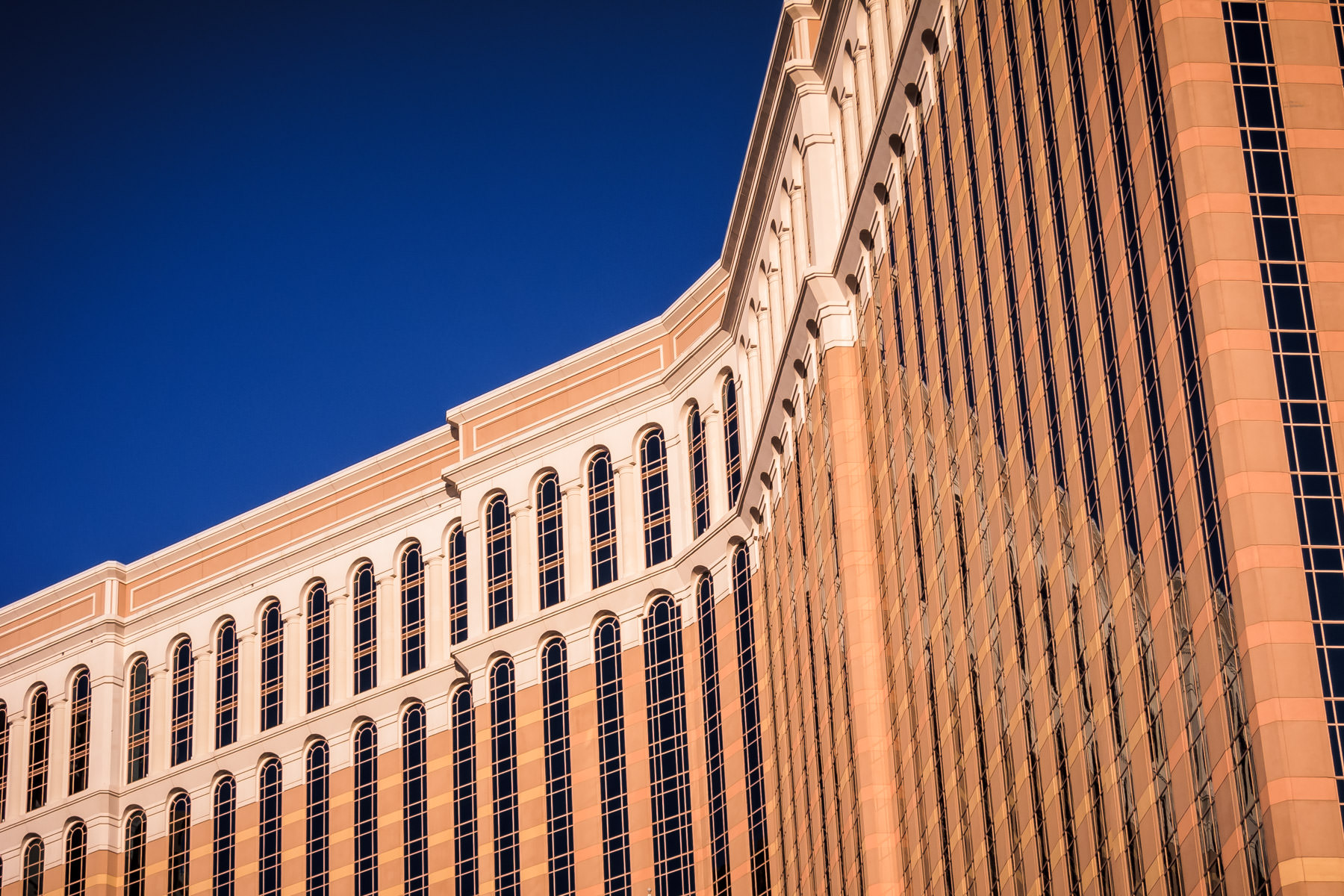 The Venetian's hotel tower rises into the Las Vegas sky.