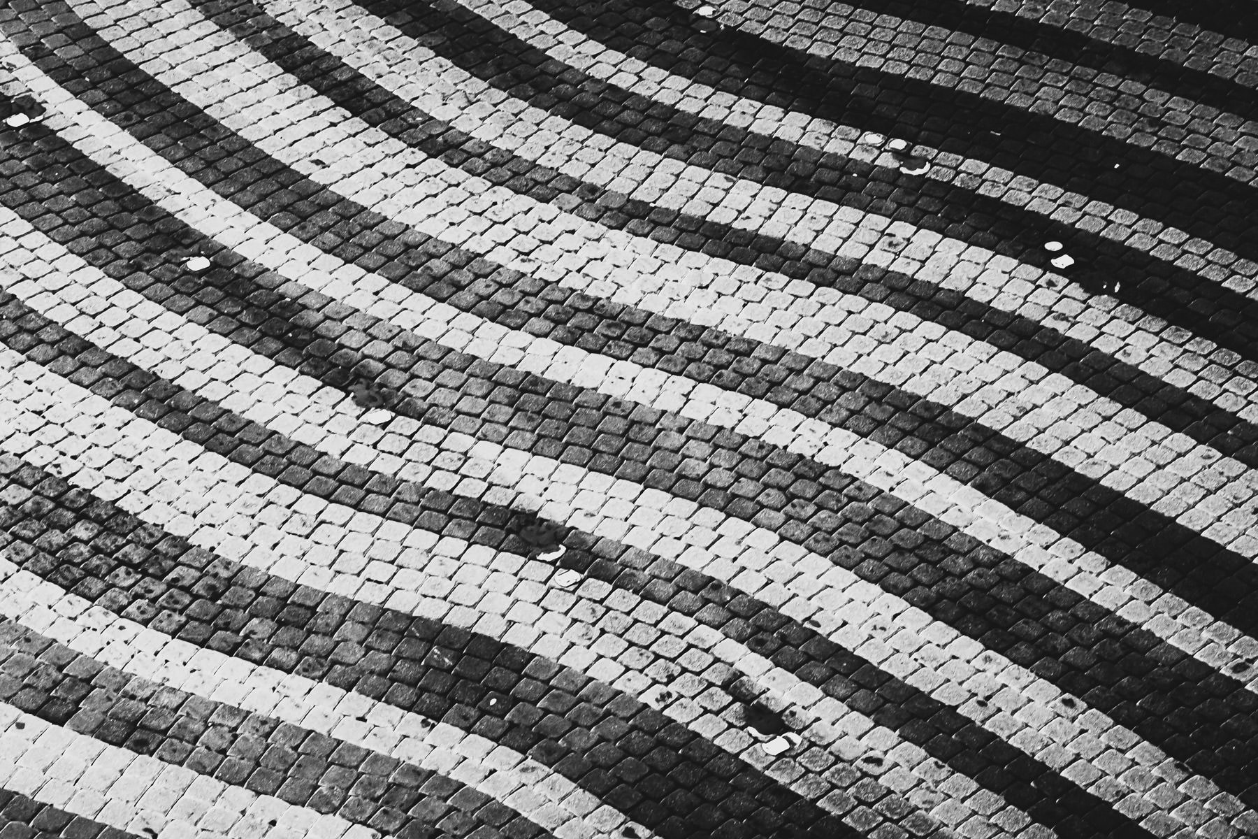 A curious pattern of bricks making up a roadway at The Venetian, Las Vegas.