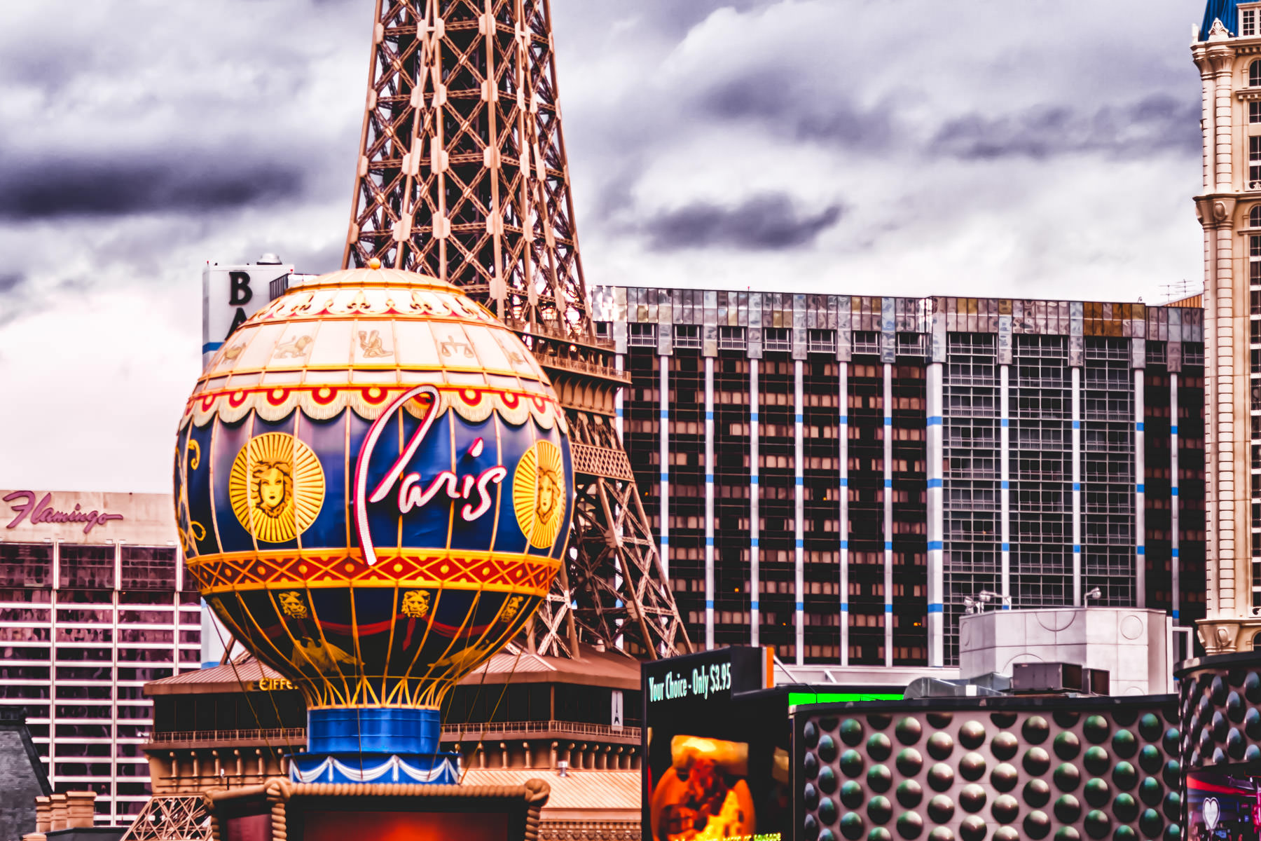 Portions of Planet Hollywood, Ballys, Paris and The Flamingo compressed together in Las Vegas.