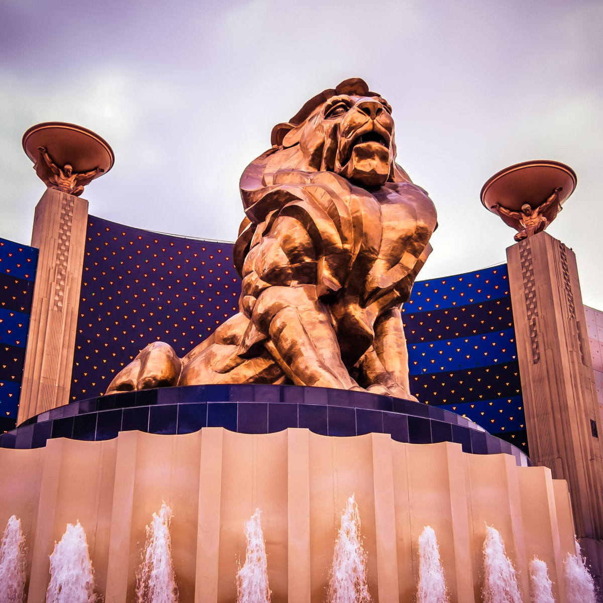 A statue of a lion outside the MGM Grand, Las Vegas.