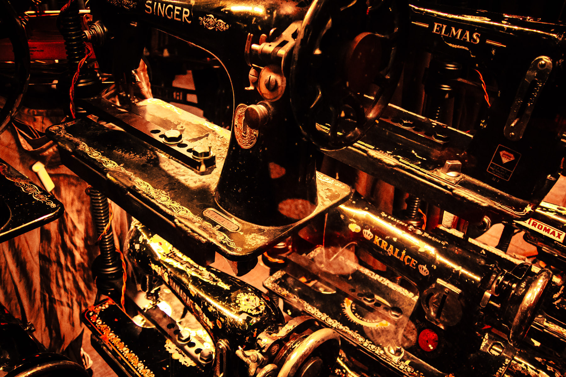 Just a few of the 1100 antique sewing machines in the windows of the AllSaints Spitalfields store at the Cosmopolitan Las Vegas.