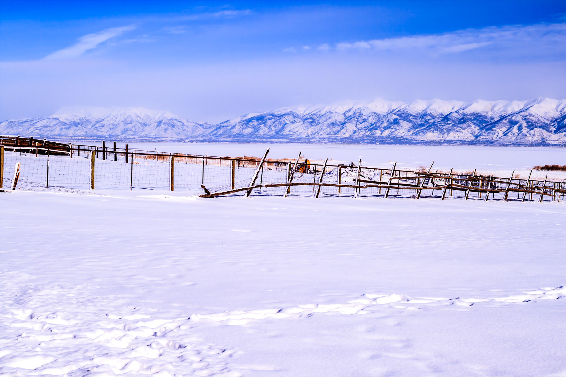 The mountains Utah's Wasatch Front as seen from Antelope Island State Park on a cold winter day.
