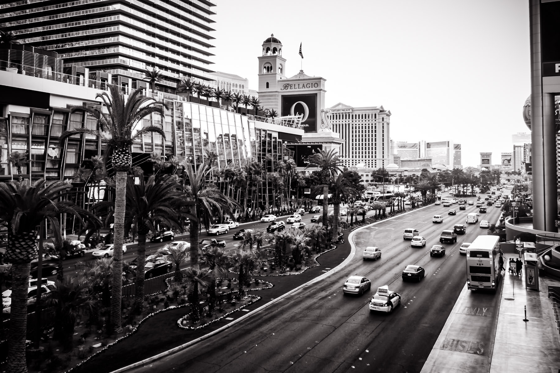 The Las Vegas Strip as seen from in front of Planet Hollywood, opposite of the Cosmopolitan of Las Vegas.
