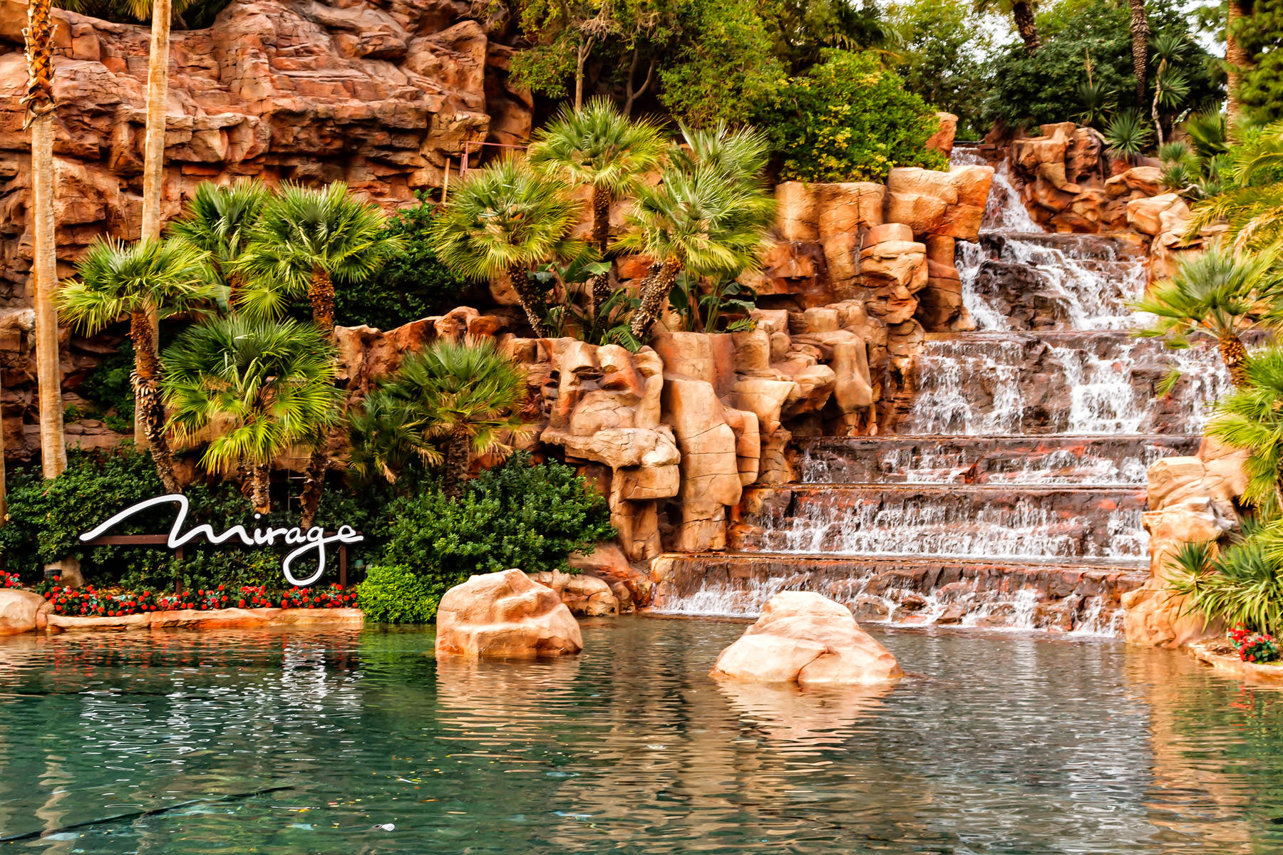 The waterfall at The Mirage, Las Vegas.