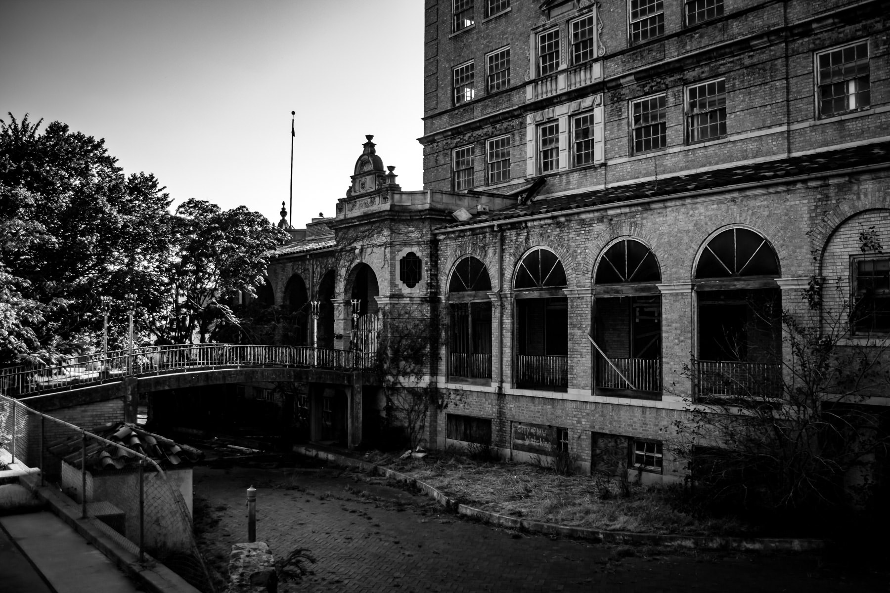 The back drive of Mineral Wells, Texas' Baker Hotel, abandoned since 1963.