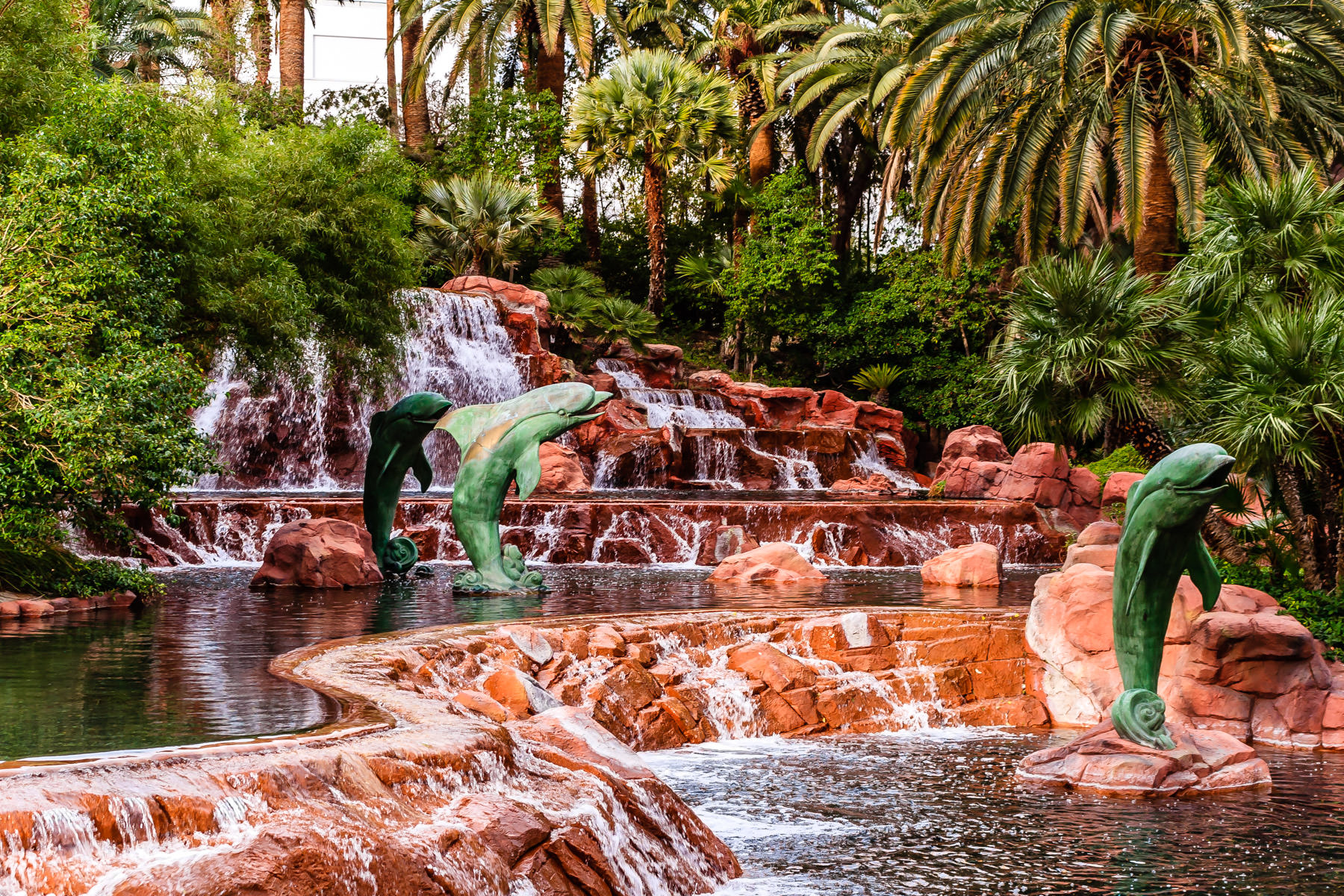 Dolphin statues in the waterfalls at The Mirage, Las Vegas.