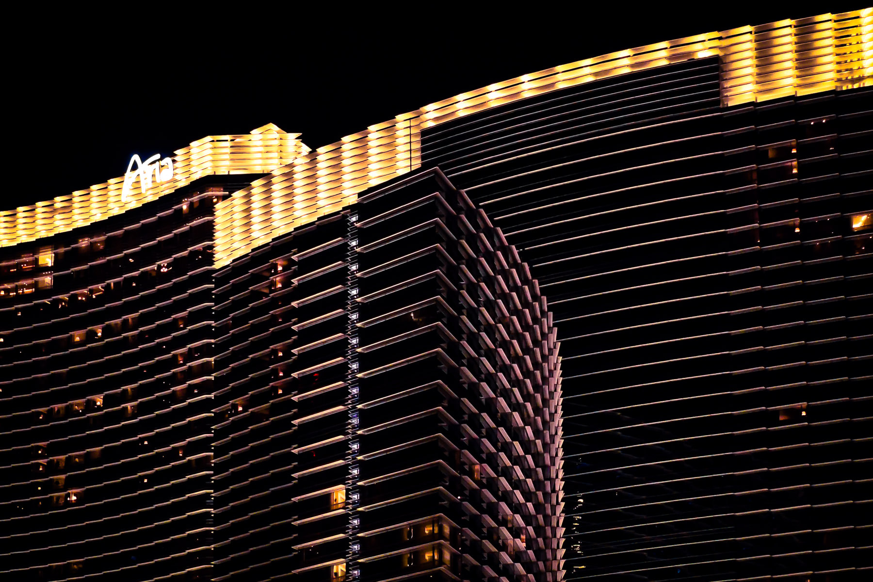 The Aria Hotel and Casino rises into the night sky at CityCenter, Las Vegas.