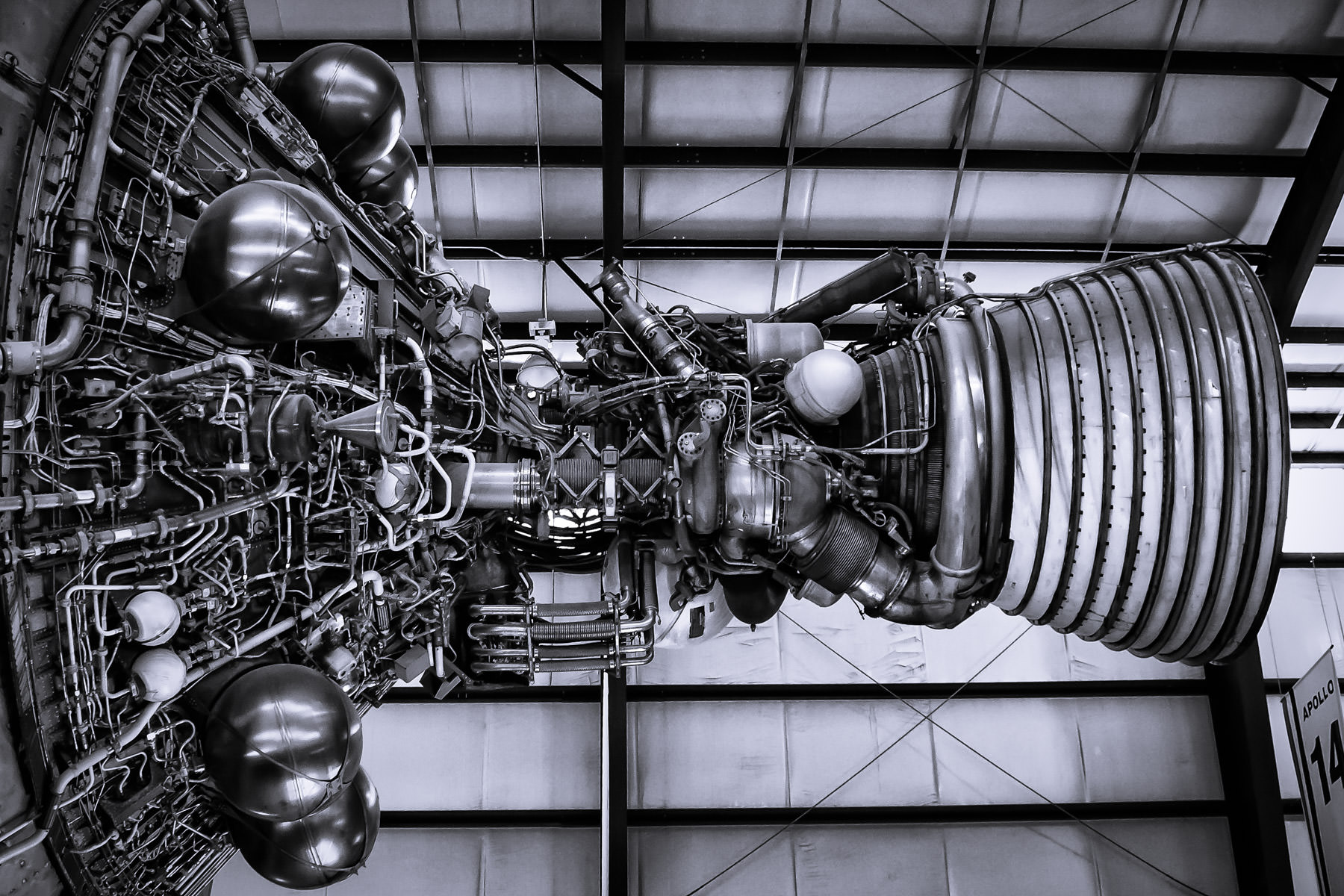 An engine from an intermediary stage of a Apollo program Saturn V rocket on display at NASA's Johnson Space Center, Houston, Texas.