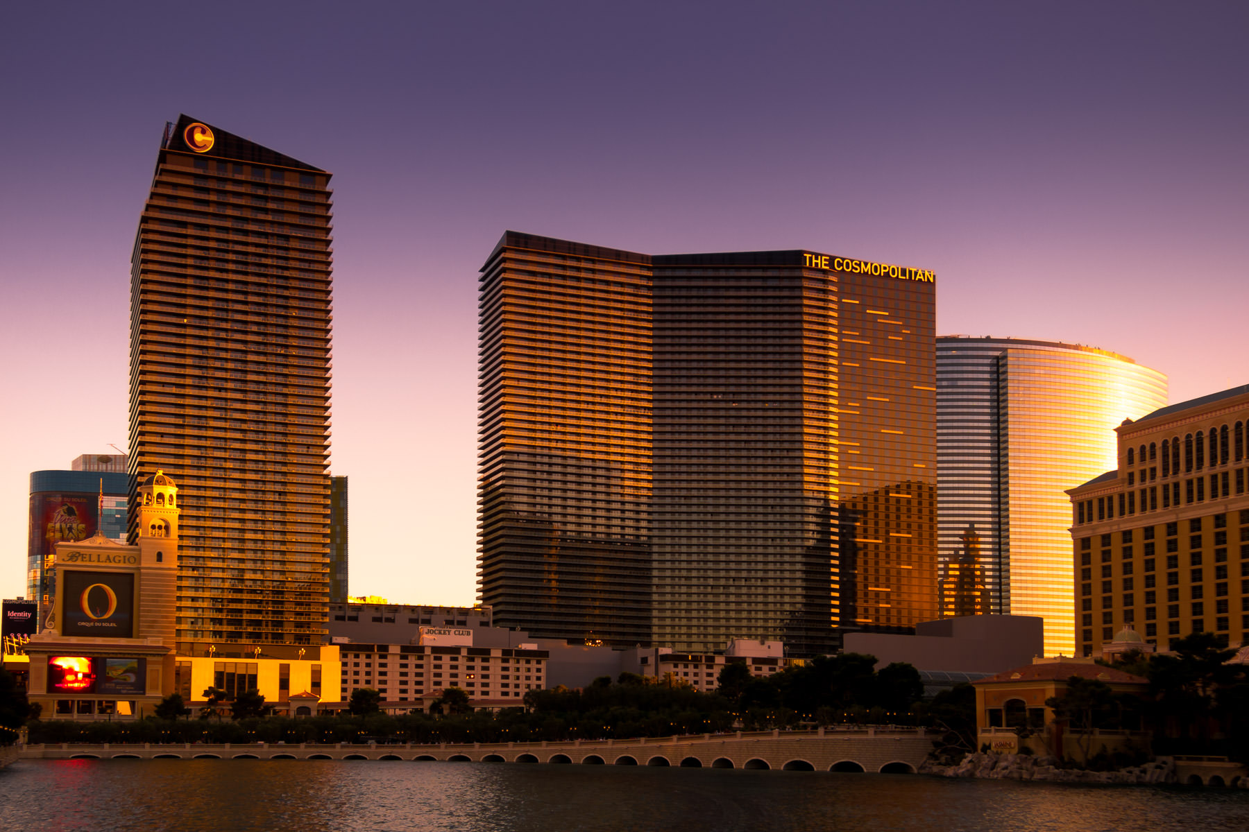 The sun sets on Las Vegas, giving golden hues to The Cosmopolitan of Las Vegas.