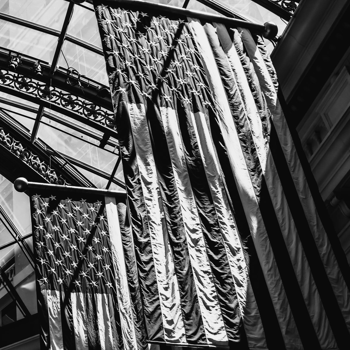American flags hang inside the conservatory at the Bellagio, Las Vegas.