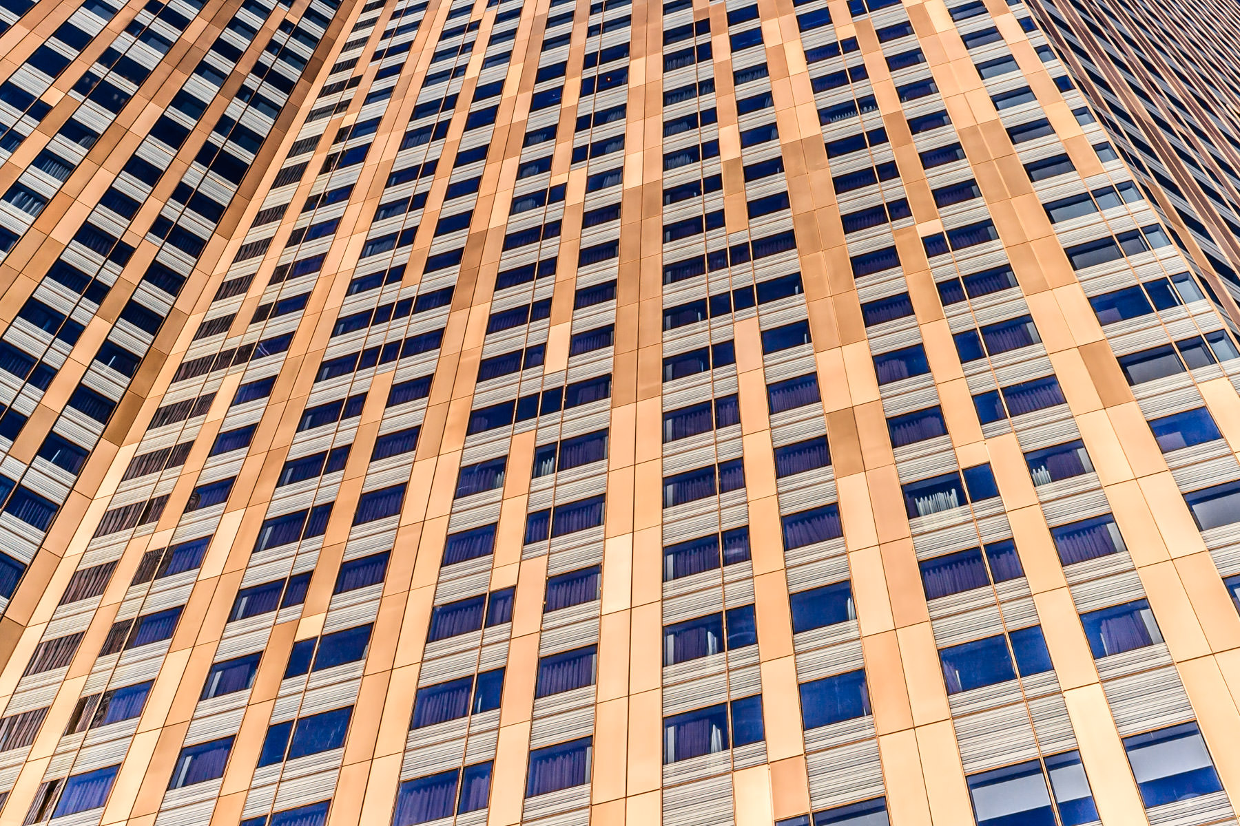 An abstracted study of the exterior of the Mandarin Oriental Hotel, CityCenter, Las Vegas.