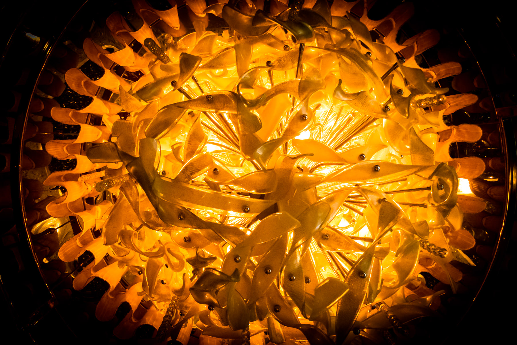 An elaborate light fixture in the lobby of the Cosmopolitan of Las Vegas.