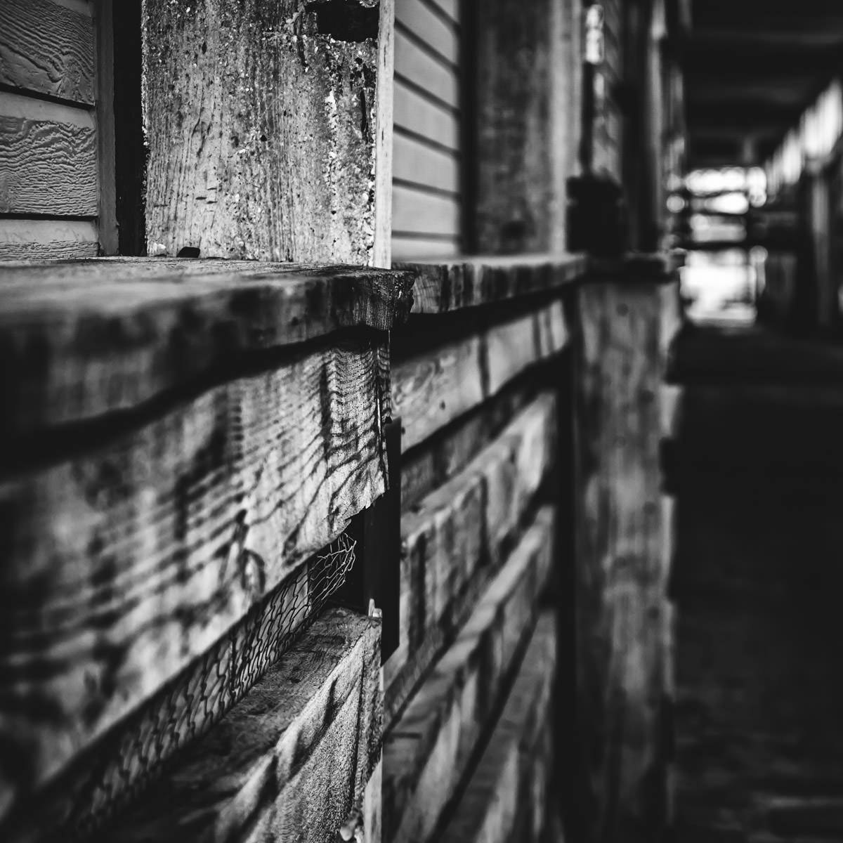 A dark passage at the Fort Worth Stockyards.
