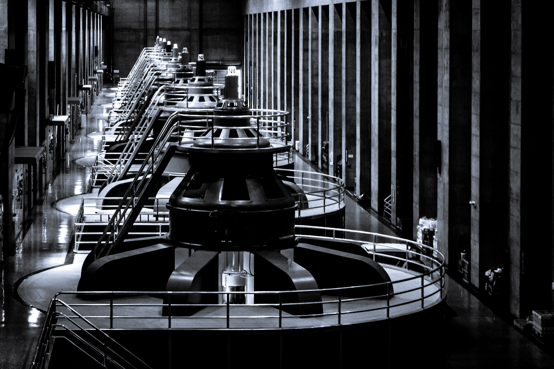 One of the two massive electrical generator rooms at Hoover Dam.