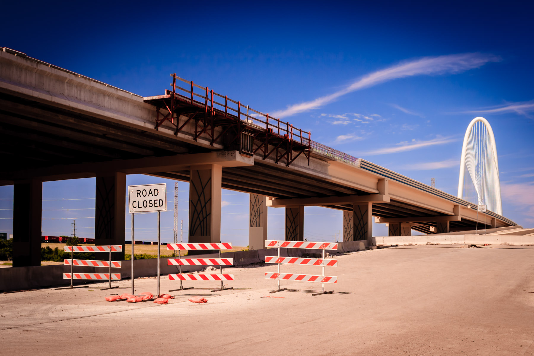 Construction on the approaches to the Santiago Calatrava-designed Margaret Hunt Hill Bridge in Dallas.