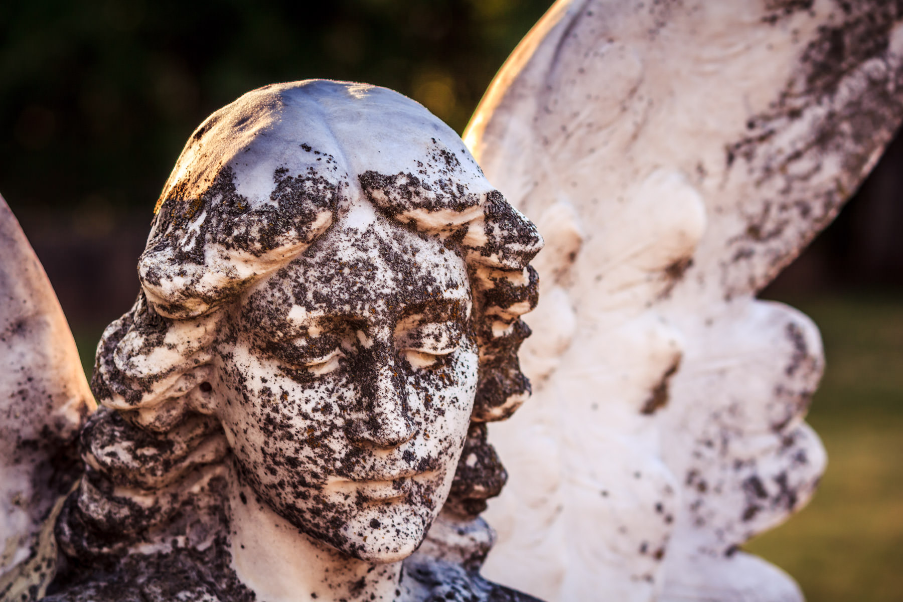 A moss-covered statue of an angel at Oakwood Cemetery, Tyler, Texas.