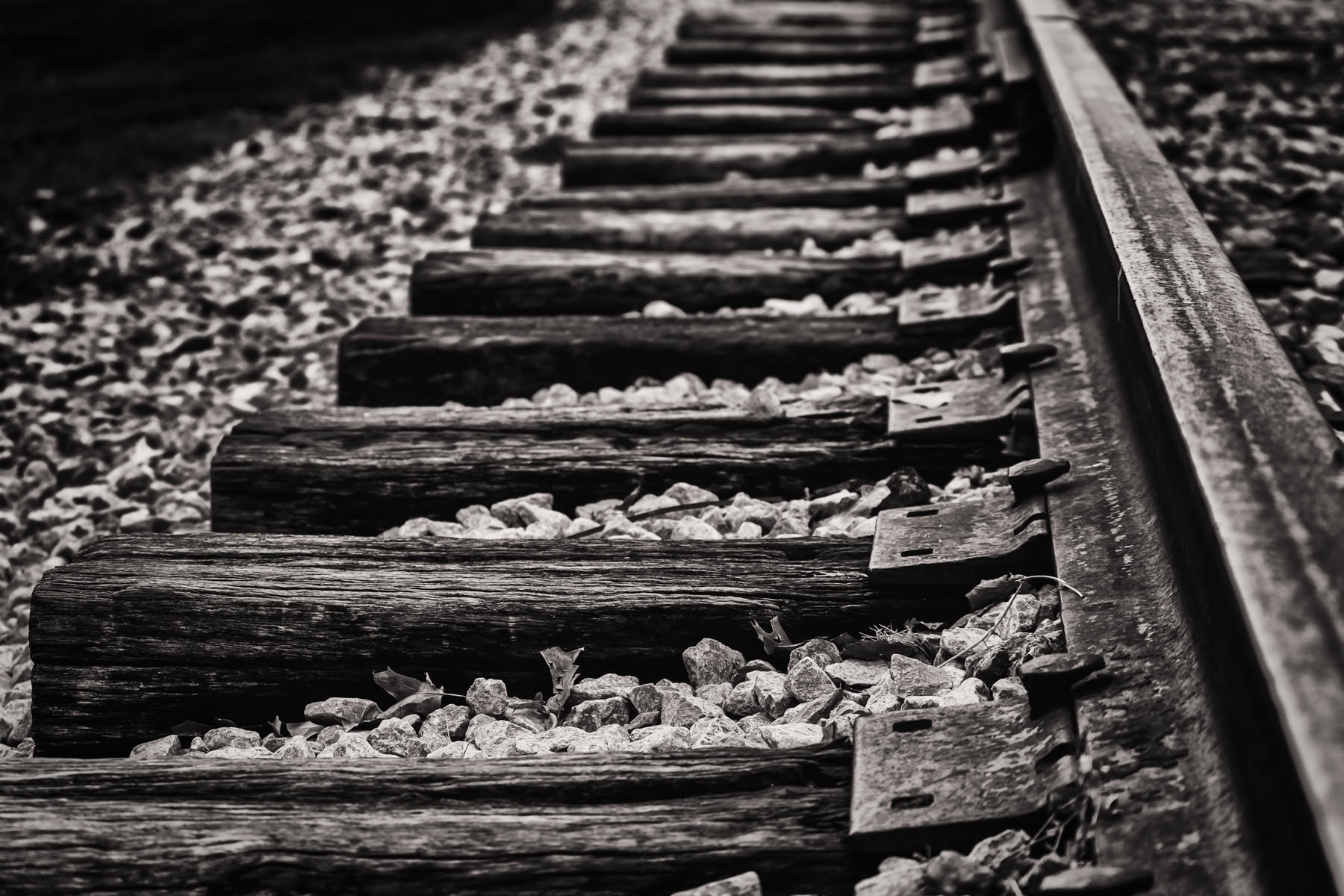 A railroad track somewhere in Fort Worth, Texas.