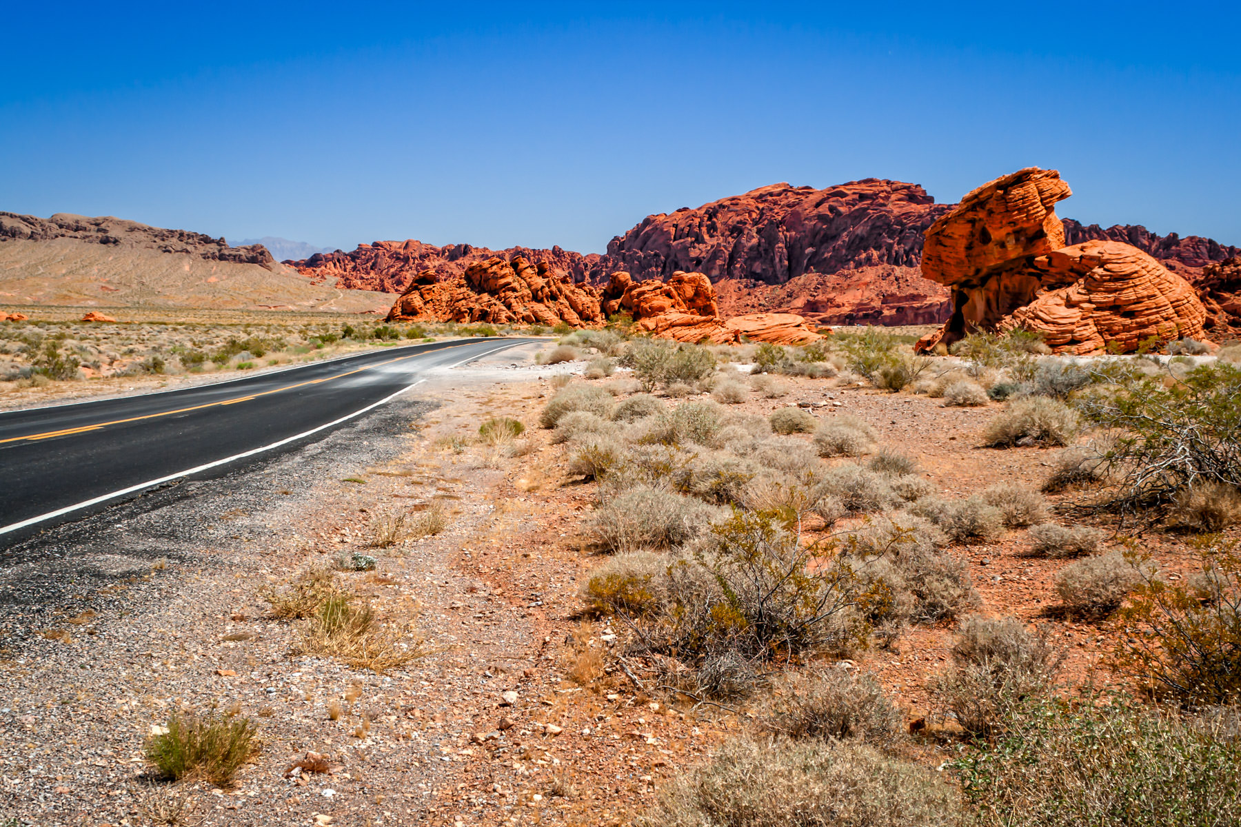 A road carves a path through the barren desert landscape of the Valley of Fire, Nevada.