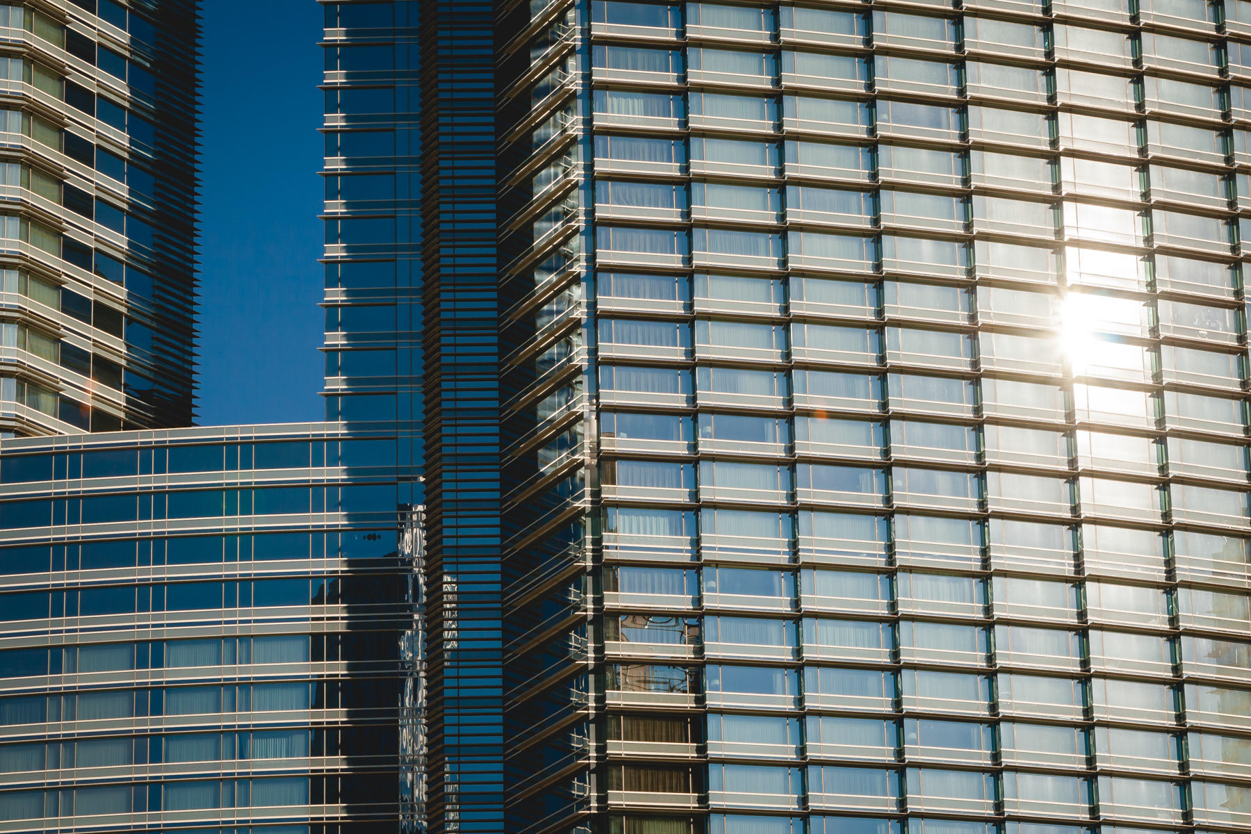 The sun glints off the exterior of the Aria, CityCenter, Las Vegas.