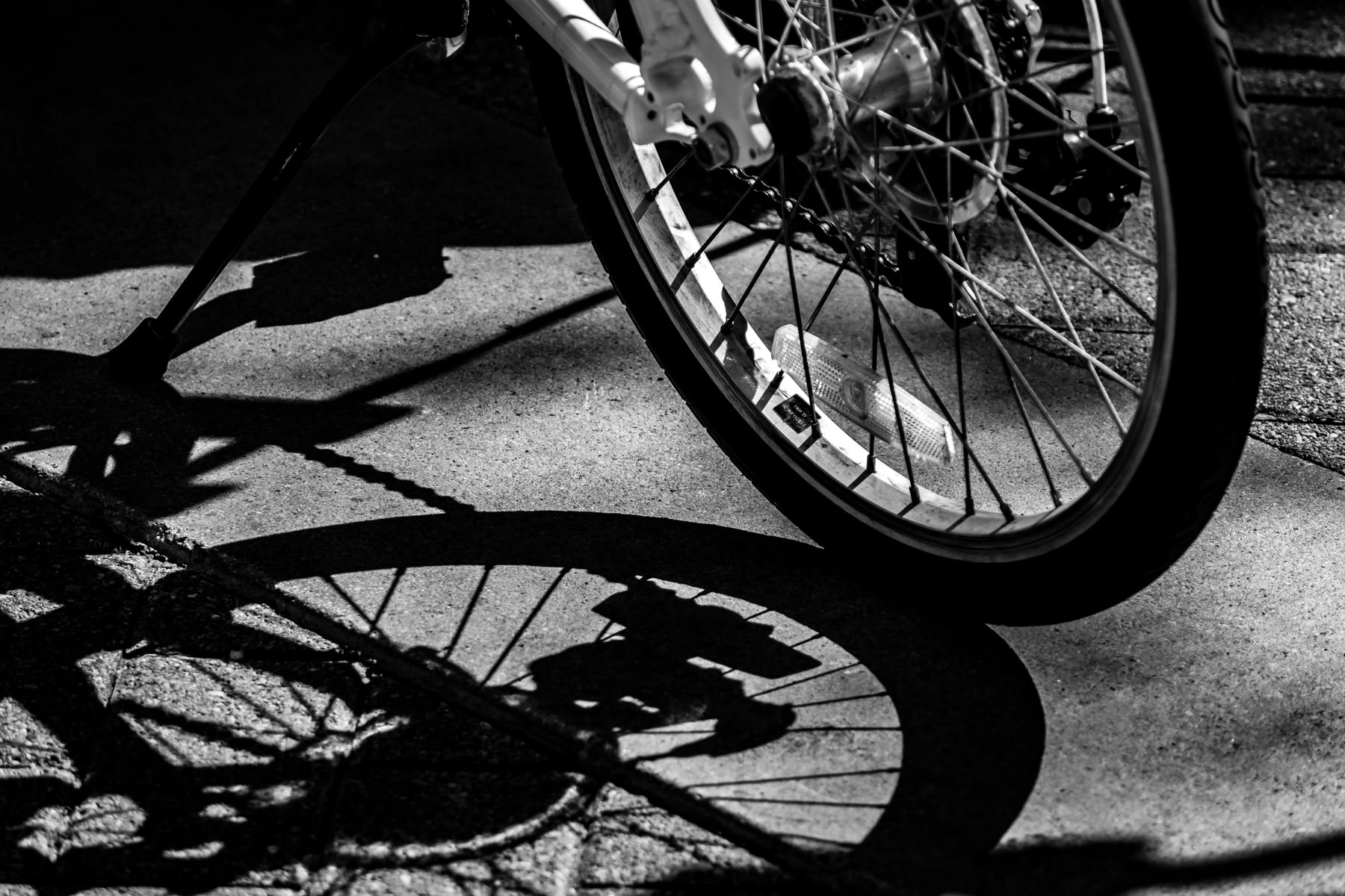 A bicycle's wheel casts a shadow in Downtown Dallas, Texas.