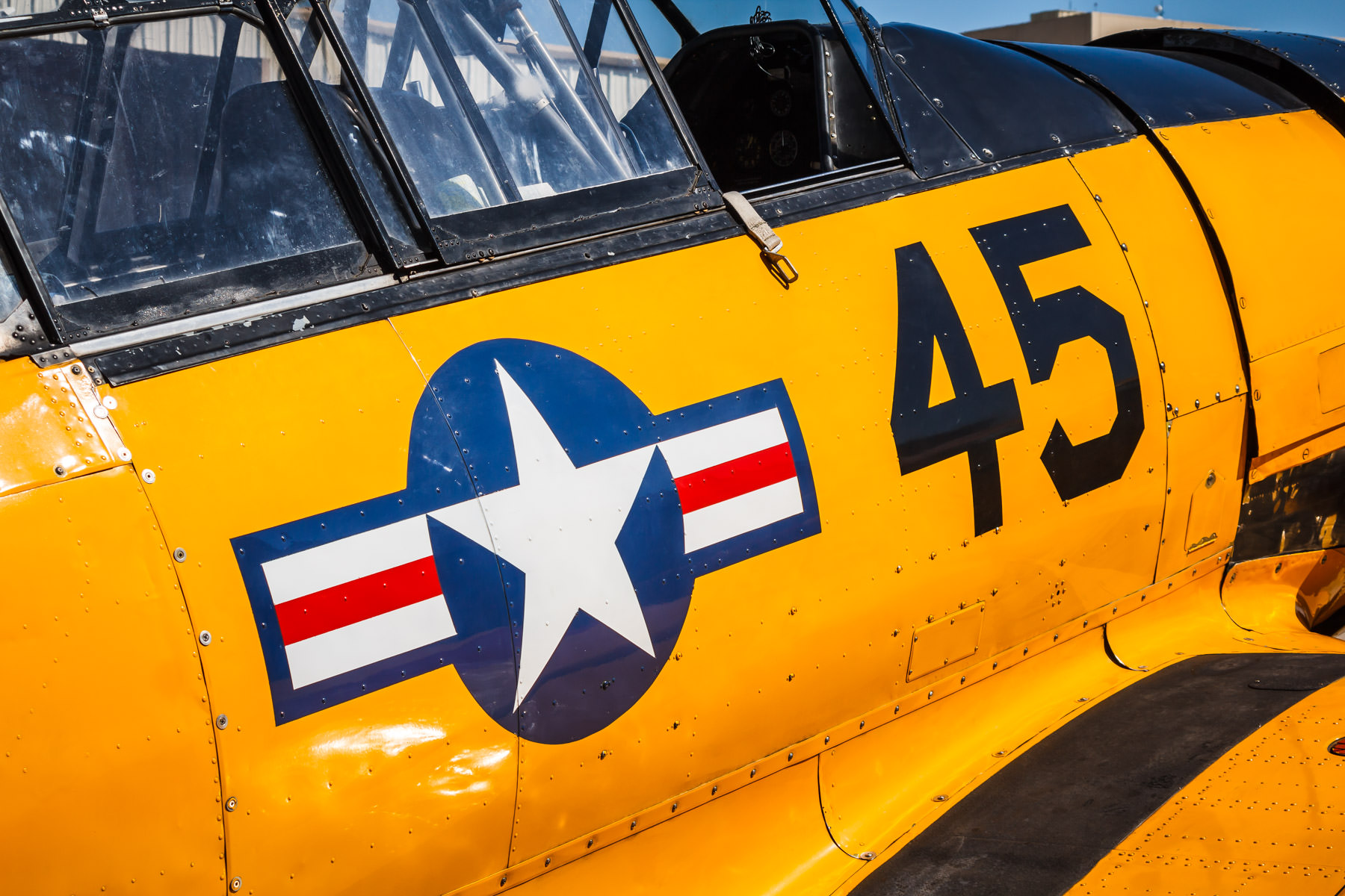 Detail of a vintage T-6 Texan at the Cavanaugh Flight Museum, Addison, Texas.