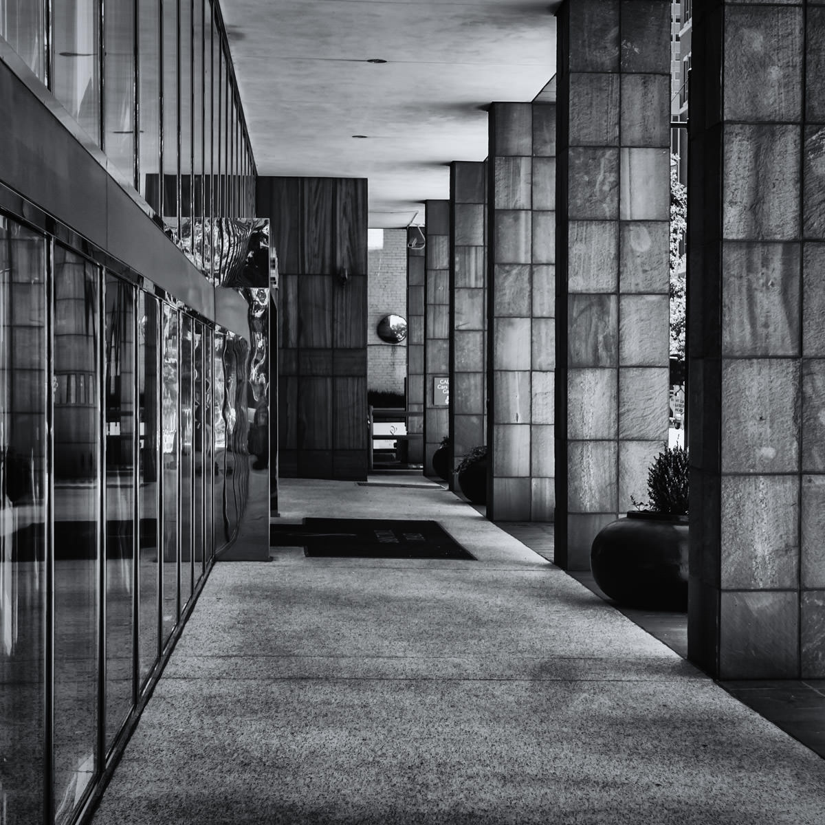 The colonnade of an office building spotted in Downtown Dallas.
