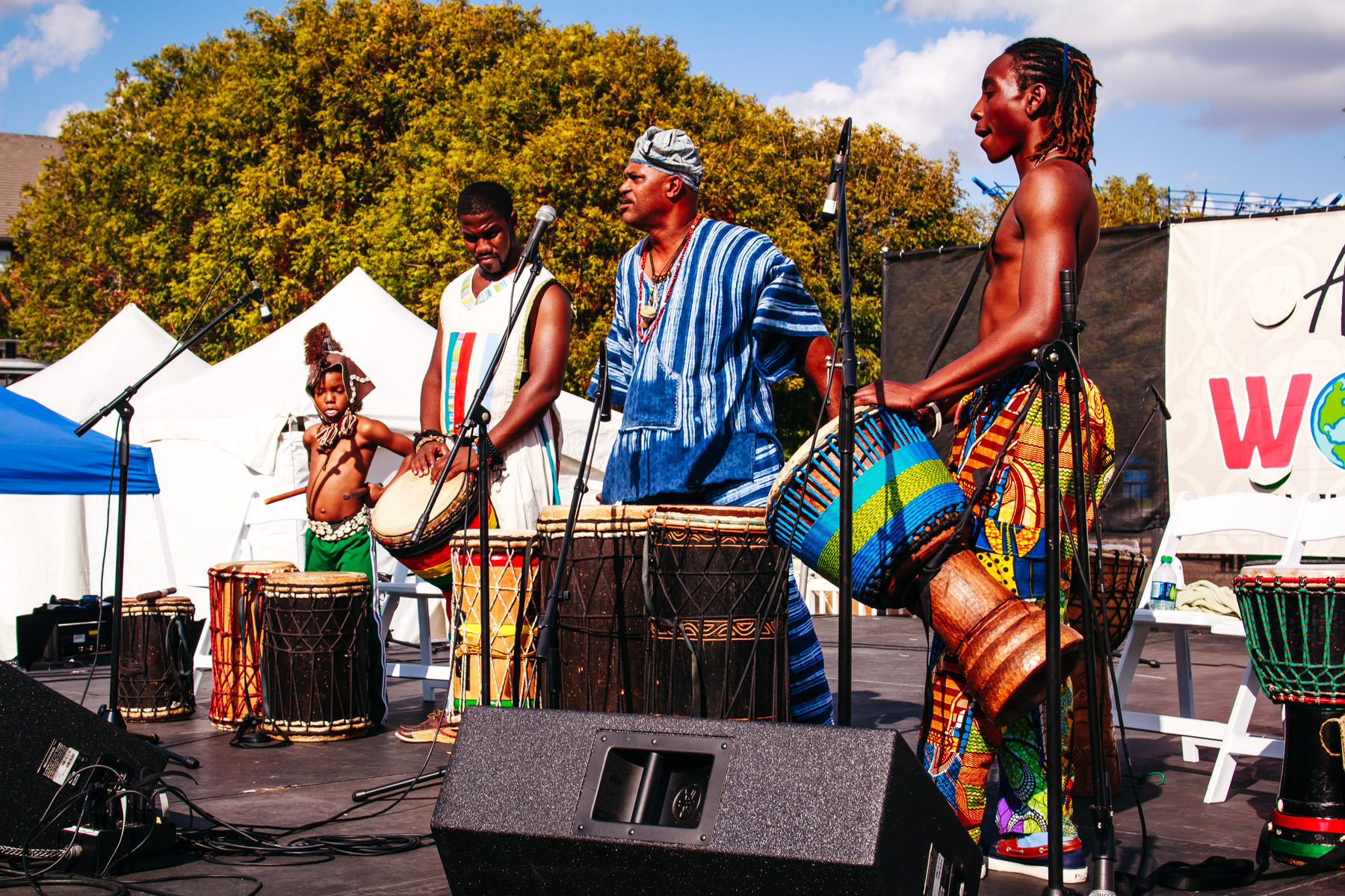 Traditional African drum players at Addison WorldFest, Addison, Texas.